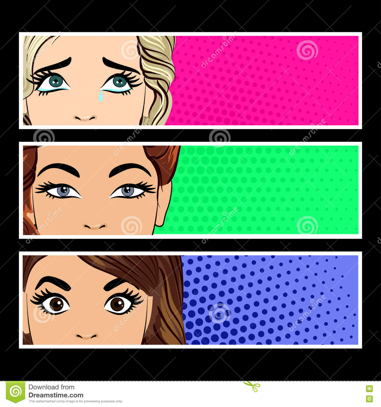 82b34fdab8f Pop art banner with female eyes and blank space for text. Cartoon beautiful  woman eyes. Vintage advertising poster. Comic hand drawn vector illustration .