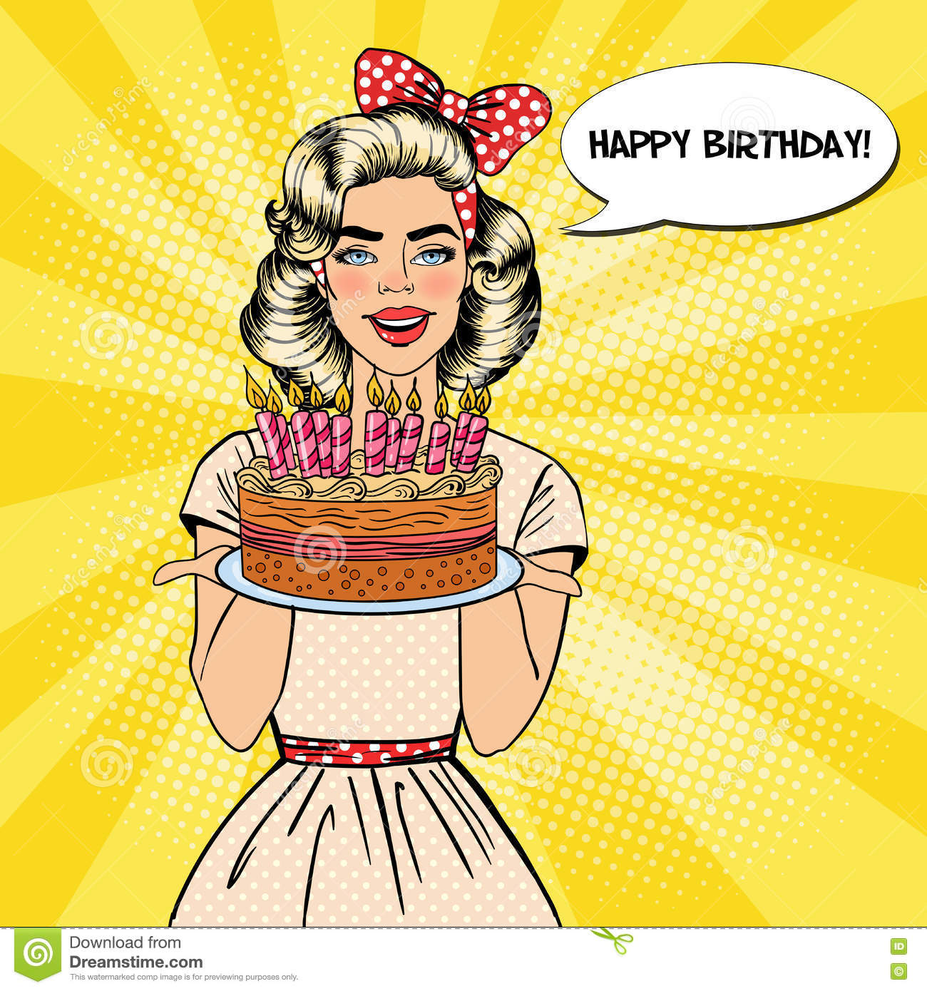 Pop Art Beautiful Woman Holding A Plate With Happy Birthday Cake Candles