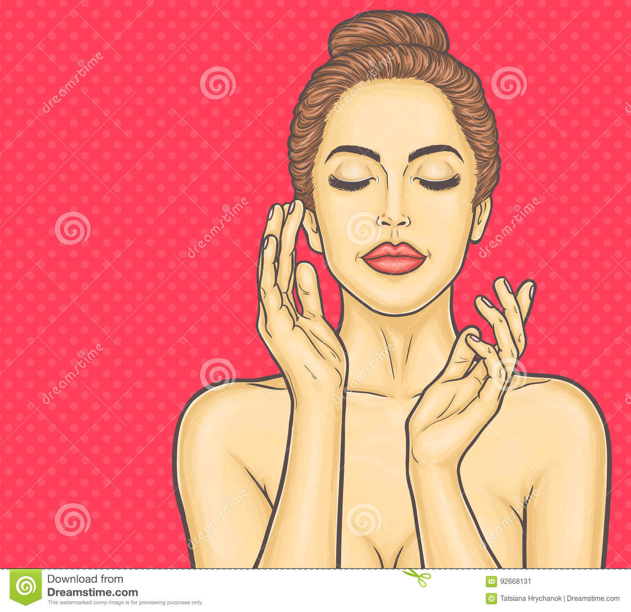 Pop art beautiful young woman makes a face massage