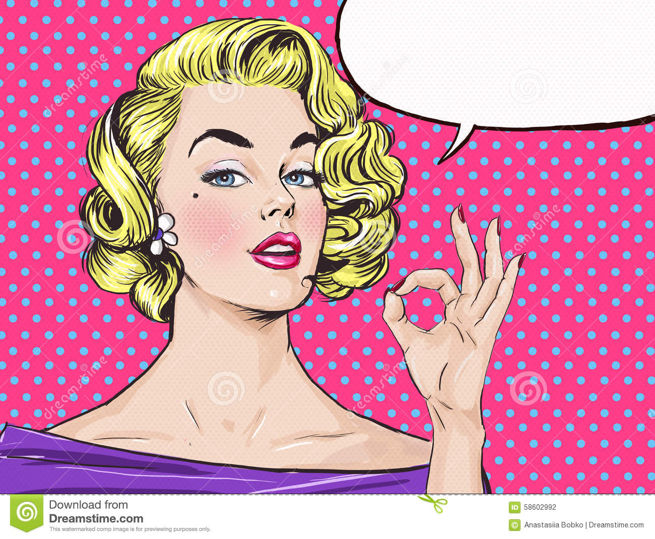 Pop Art blond girl is showing OK sign with speech bubble,.Pop Art girl.