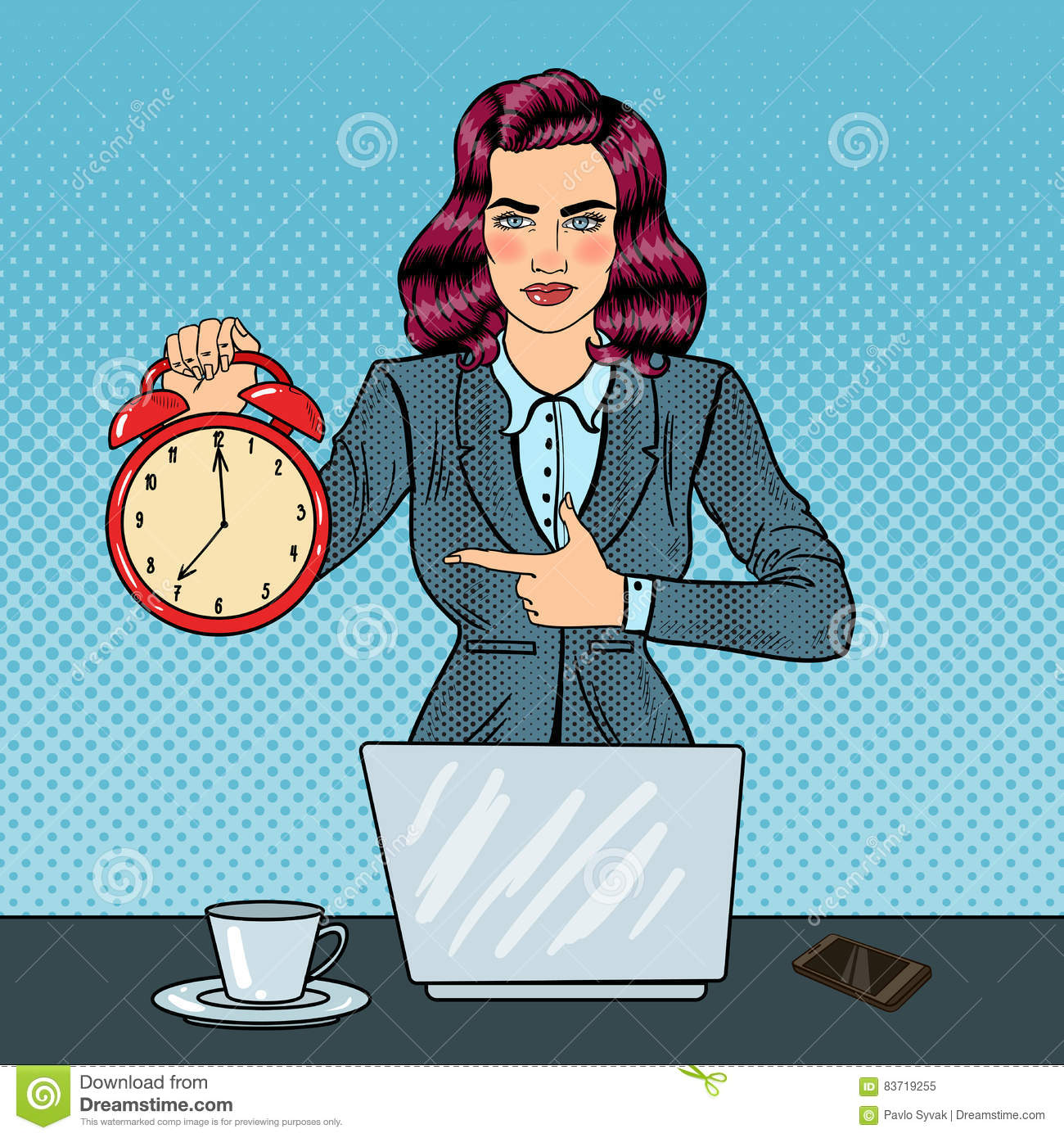 Pop Art Business Woman Holding Alarm Clock At Office Work With Laptop Stock Vector