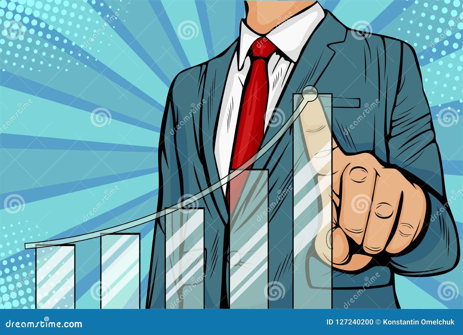 Pop art Businessman pointing arrow graph corporate future growth plan