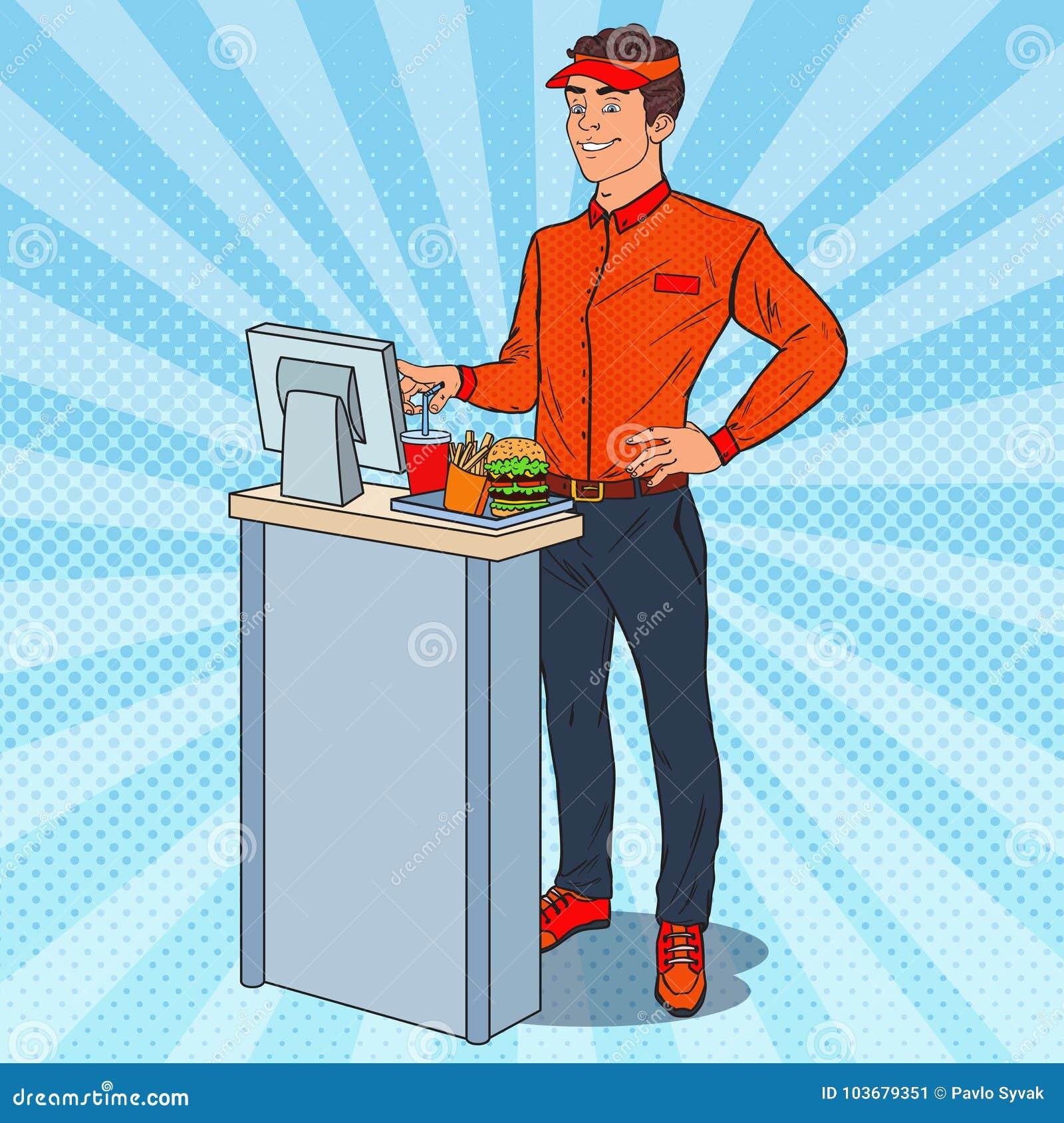 Cashier Cartoons: Fast Food Cashier. Cartoon Vector
