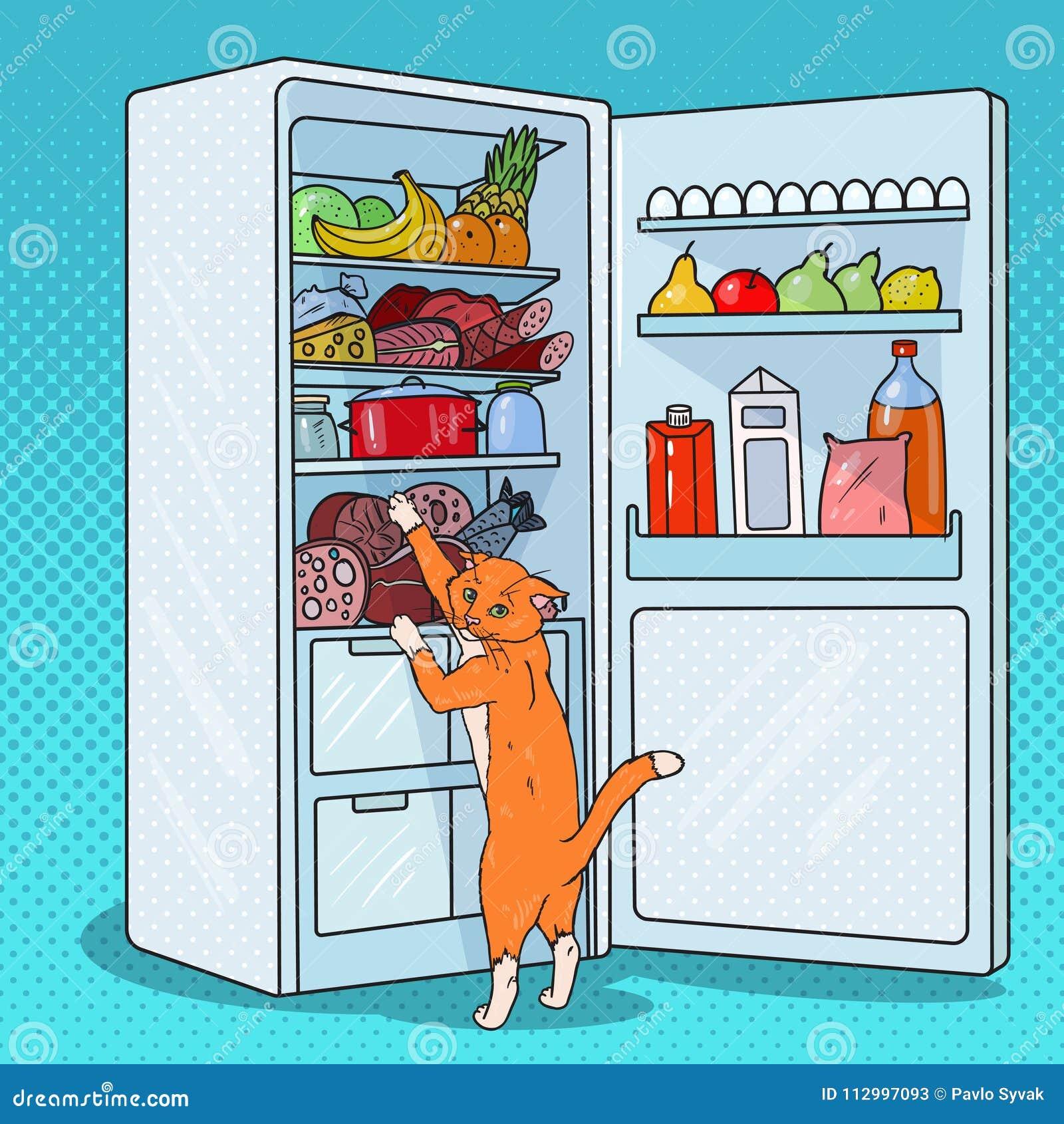 Pop Art Cat Steals Food från kylskåpet Hungrigt husdjur i kyl