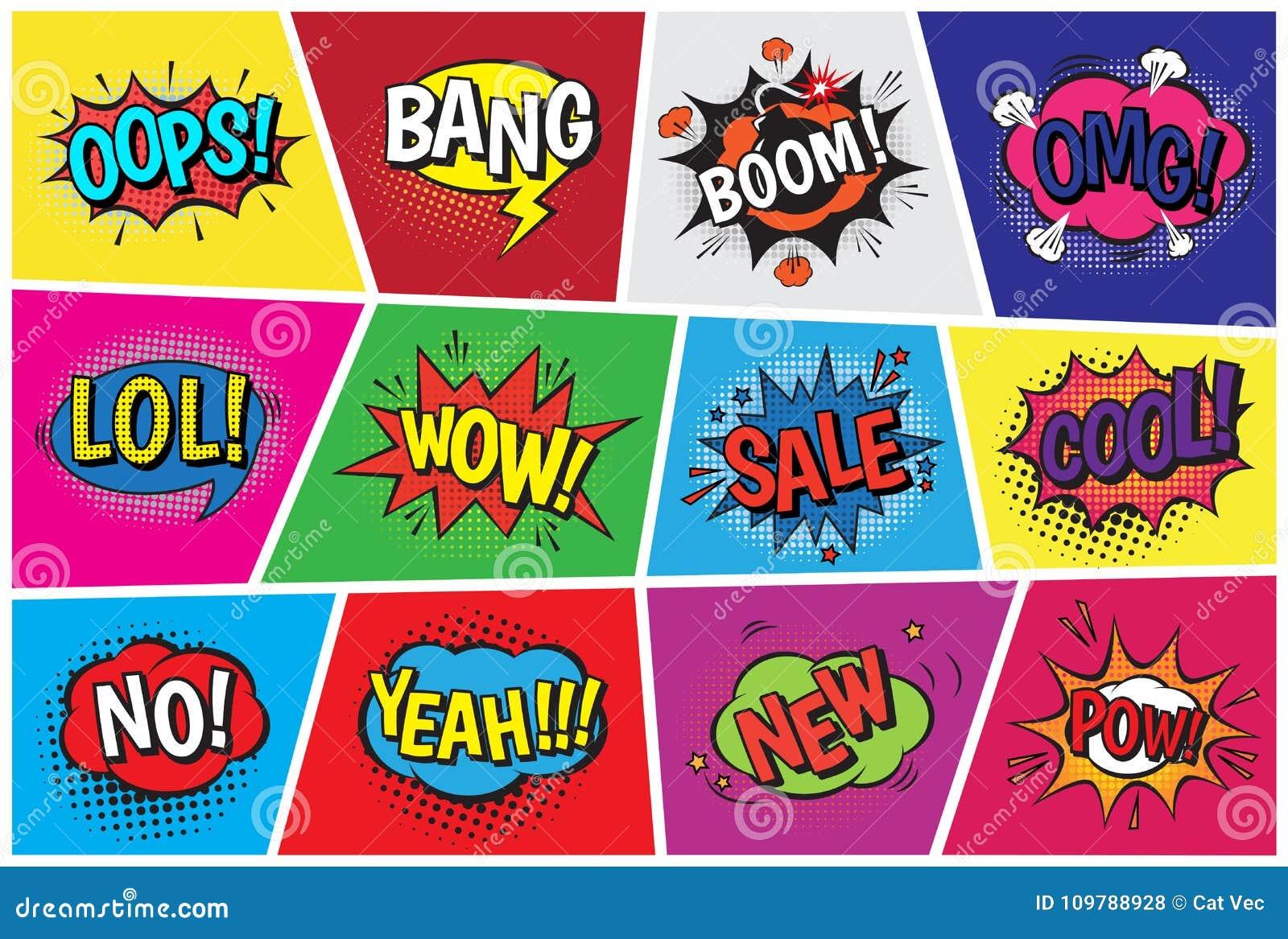Pop Art Comic Vector Speech Cartoon Bubbles In Popart Style With