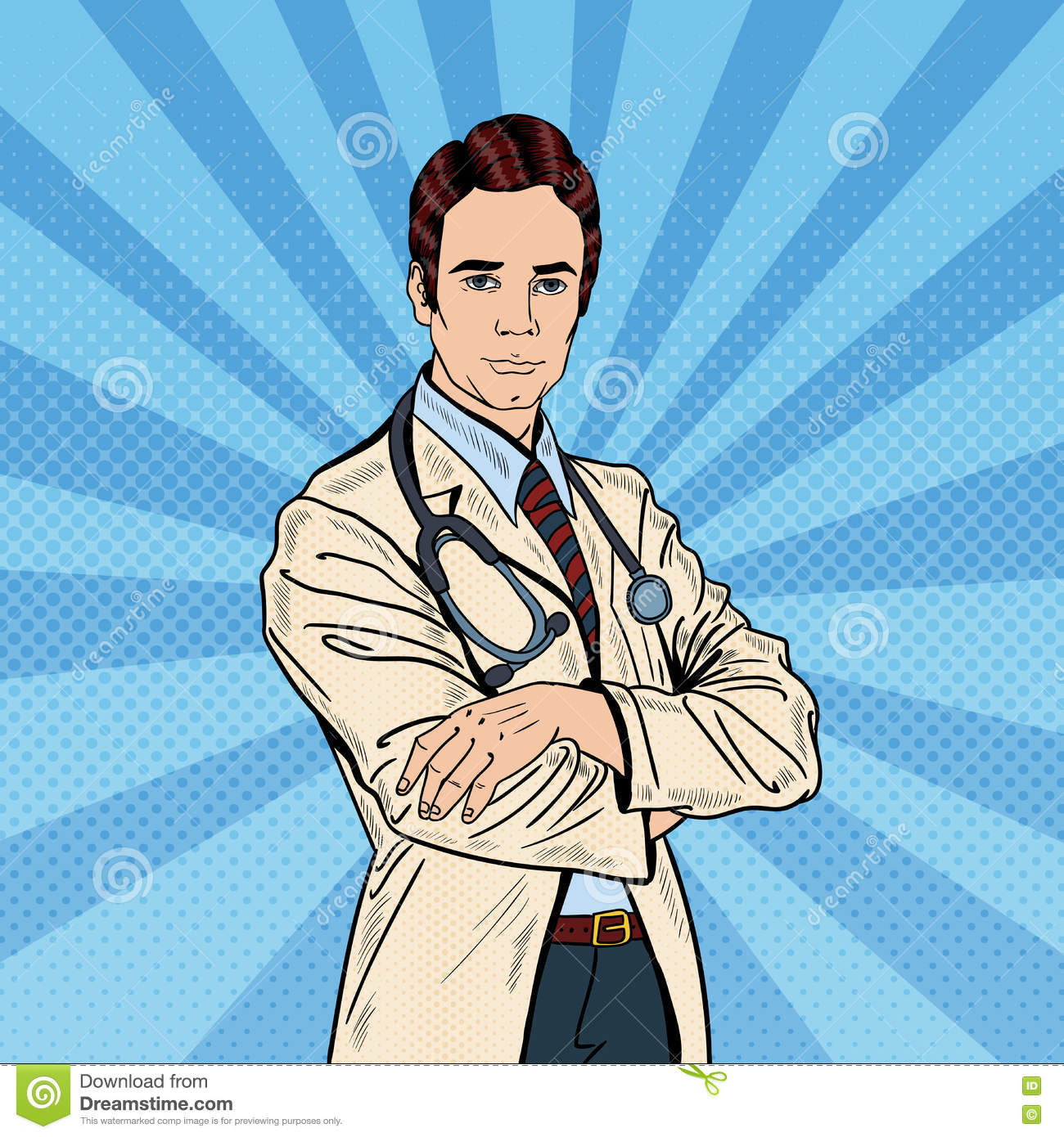 Pop Art Confident Doctor Man with Stethoscope