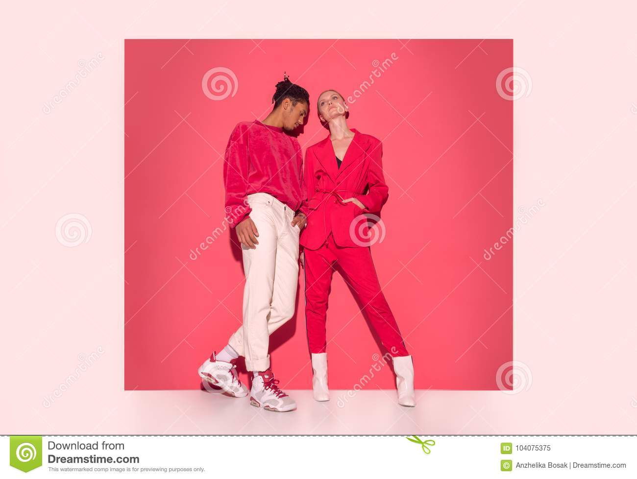 Pop art couple in a red and white