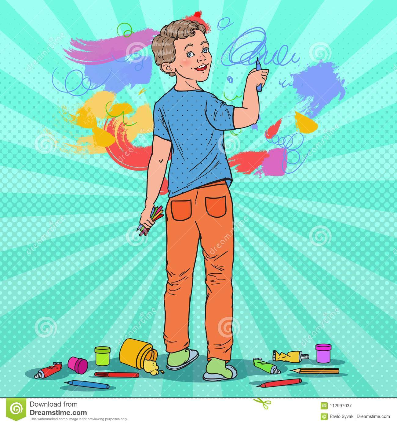 Pop Art Creative Boy Drawing On The Wall Joyful Child Painting With
