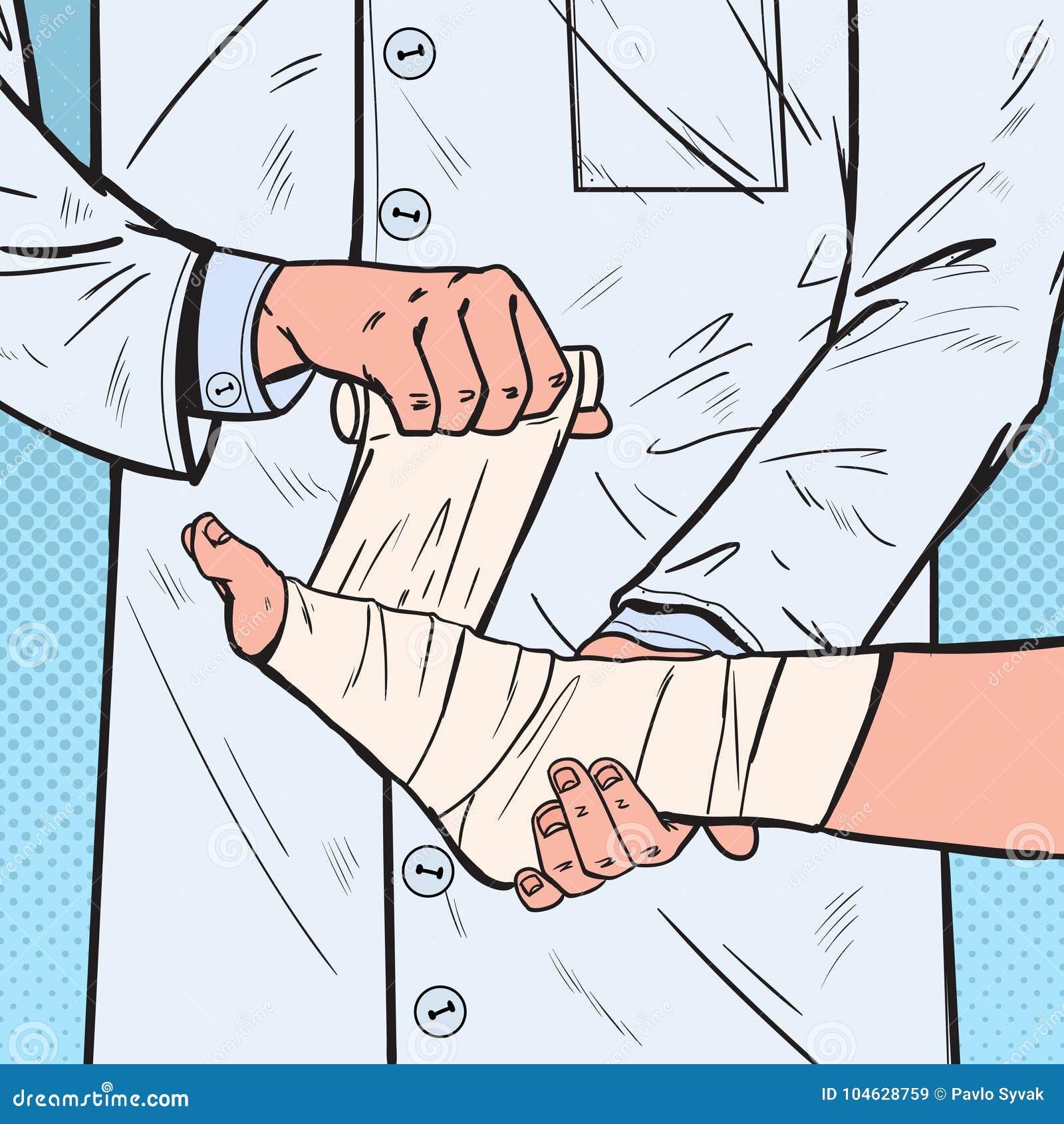 Download Pop Art Doctor Bandaging Patient Leg In Het Ziekenhuis Medische Behandeling Arts Bandaging Man Ankle Vector Illustratie - Illustratie bestaande uit punt, kliniek: 104628759