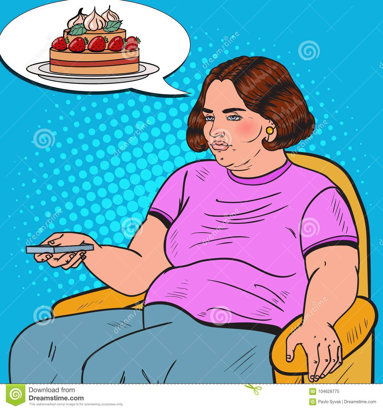 Download Pop Art Fat Woman Watching-TV Met Ver Controlemechanisme En Het Dromen Over Zoet Voedsel Het Ongezonde Eten Vector Illustratie - Illustratie bestaande uit groot, troep: 104628775