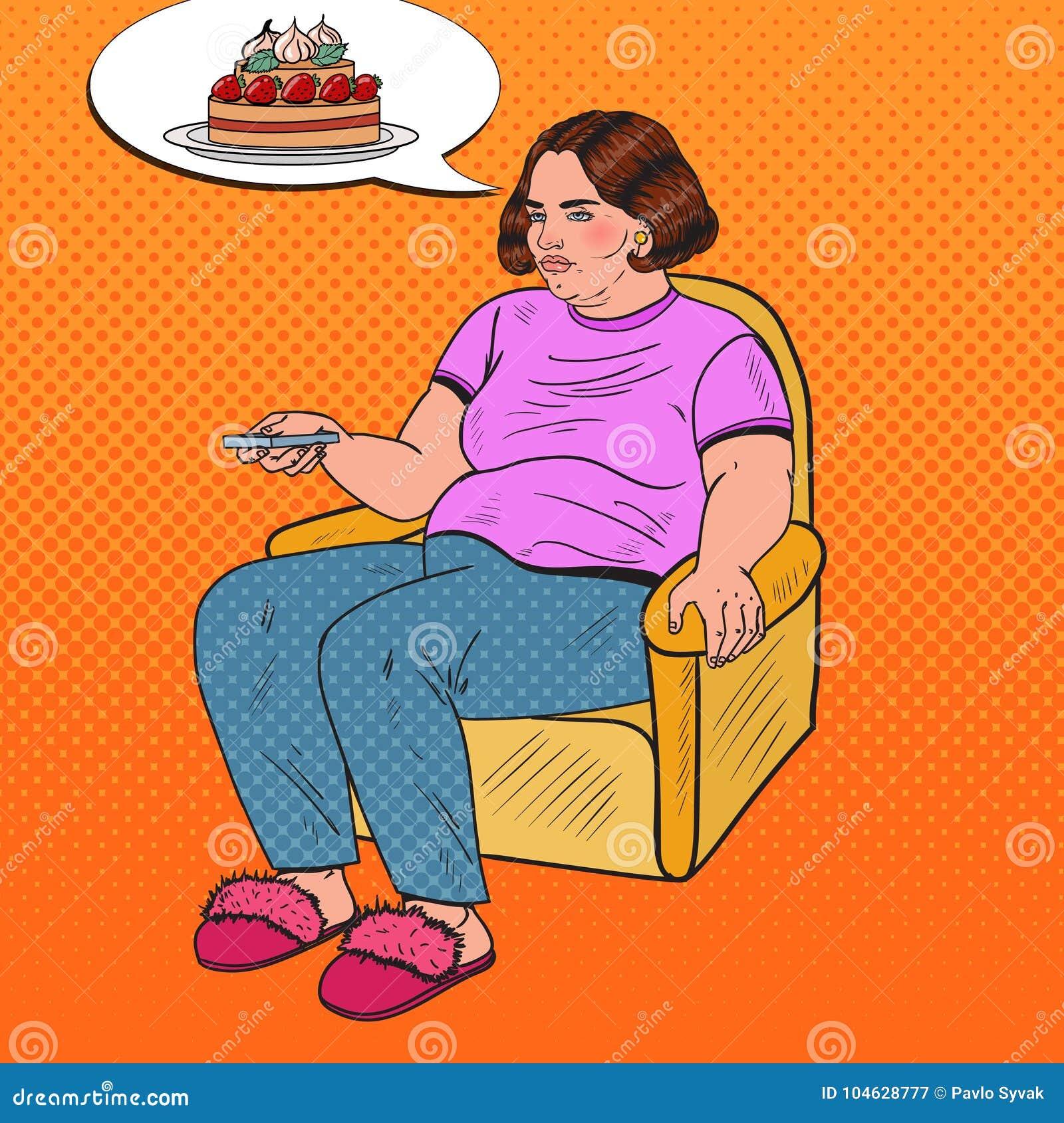 Download Pop Art Fat Woman Watching-TV Met Ver Controlemechanisme En Het Dromen Over Zoet Voedsel Het Ongezonde Eten Vector Illustratie - Illustratie bestaande uit groot, binnen: 104628777