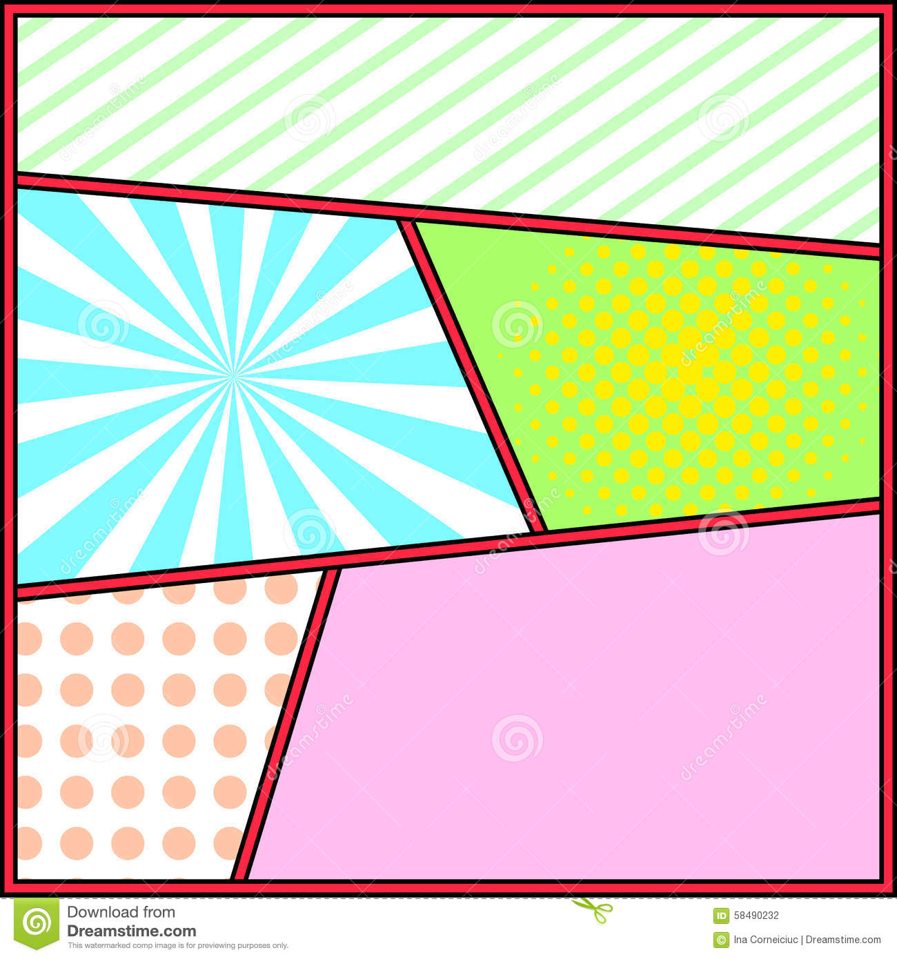 Pop Art Frame Comics Background Page Template Stock Vector
