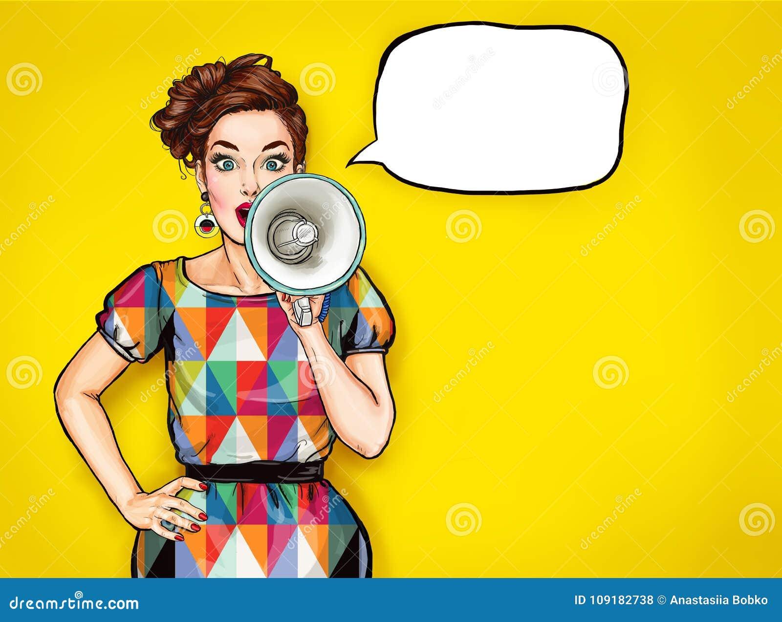 Pop art girl with megaphone. Woman with loudspeaker.