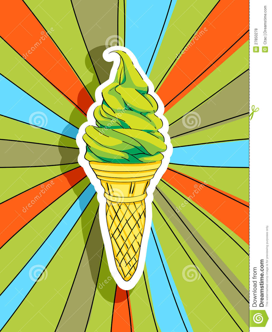 Pop art graphic background with a hand drawn illustration of an ice ...