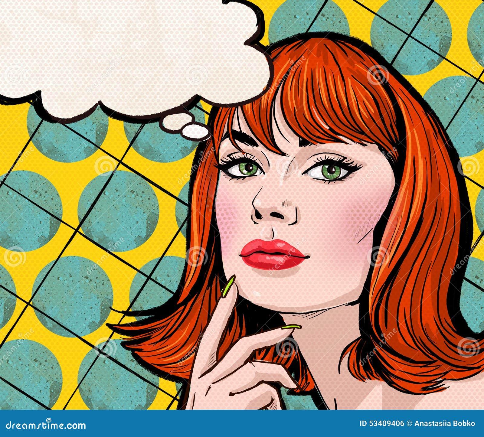 Art Illustration: Pop Art Illustration Of Girl With The Speech Bubble.Pop