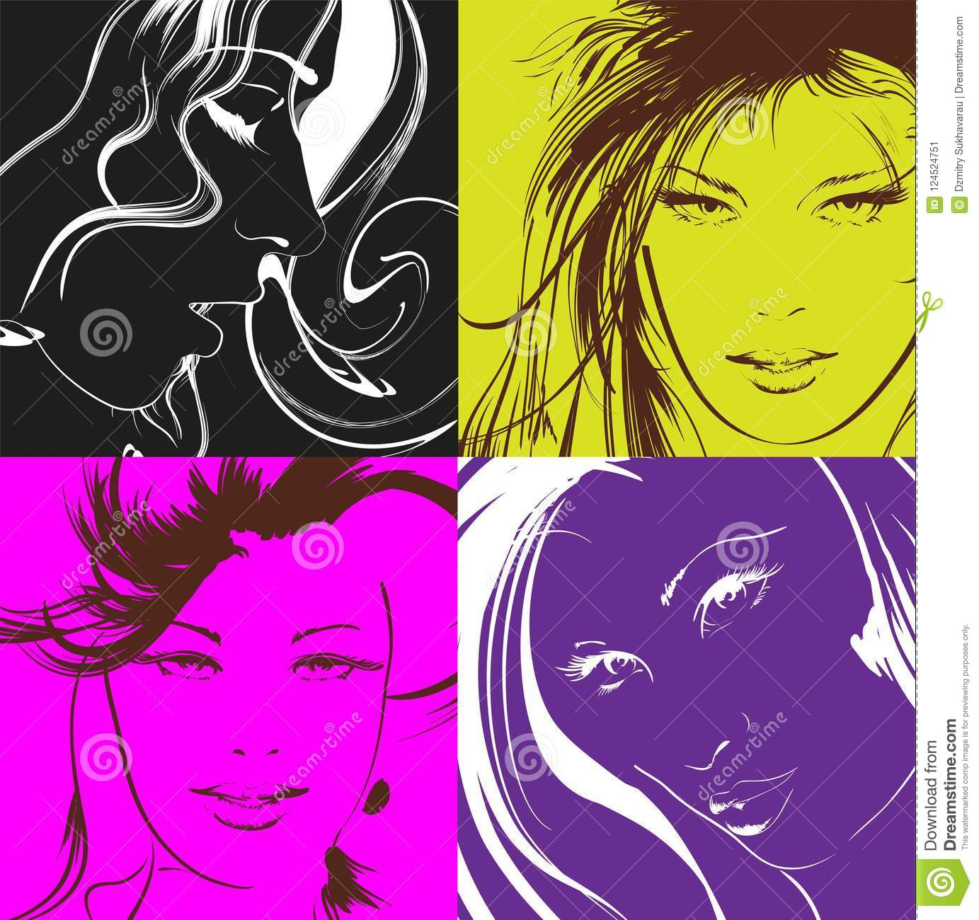 Pop Art Illustration Lovely Woman Faces Stock Illustration