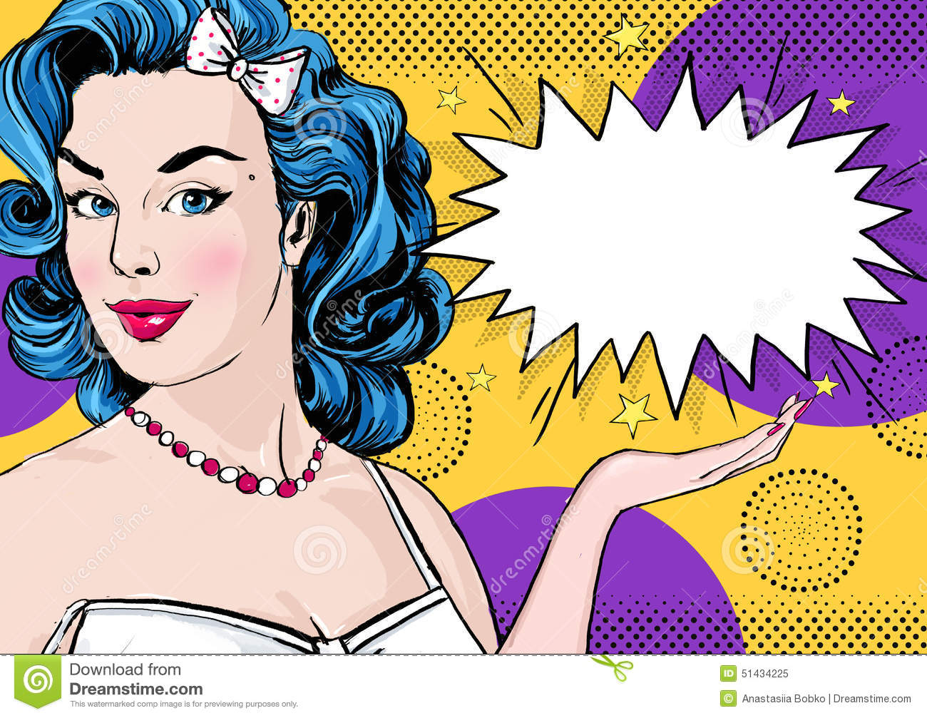 Vintage Pop Art Girl Royalty Free Stock Photo - Image: 30482115