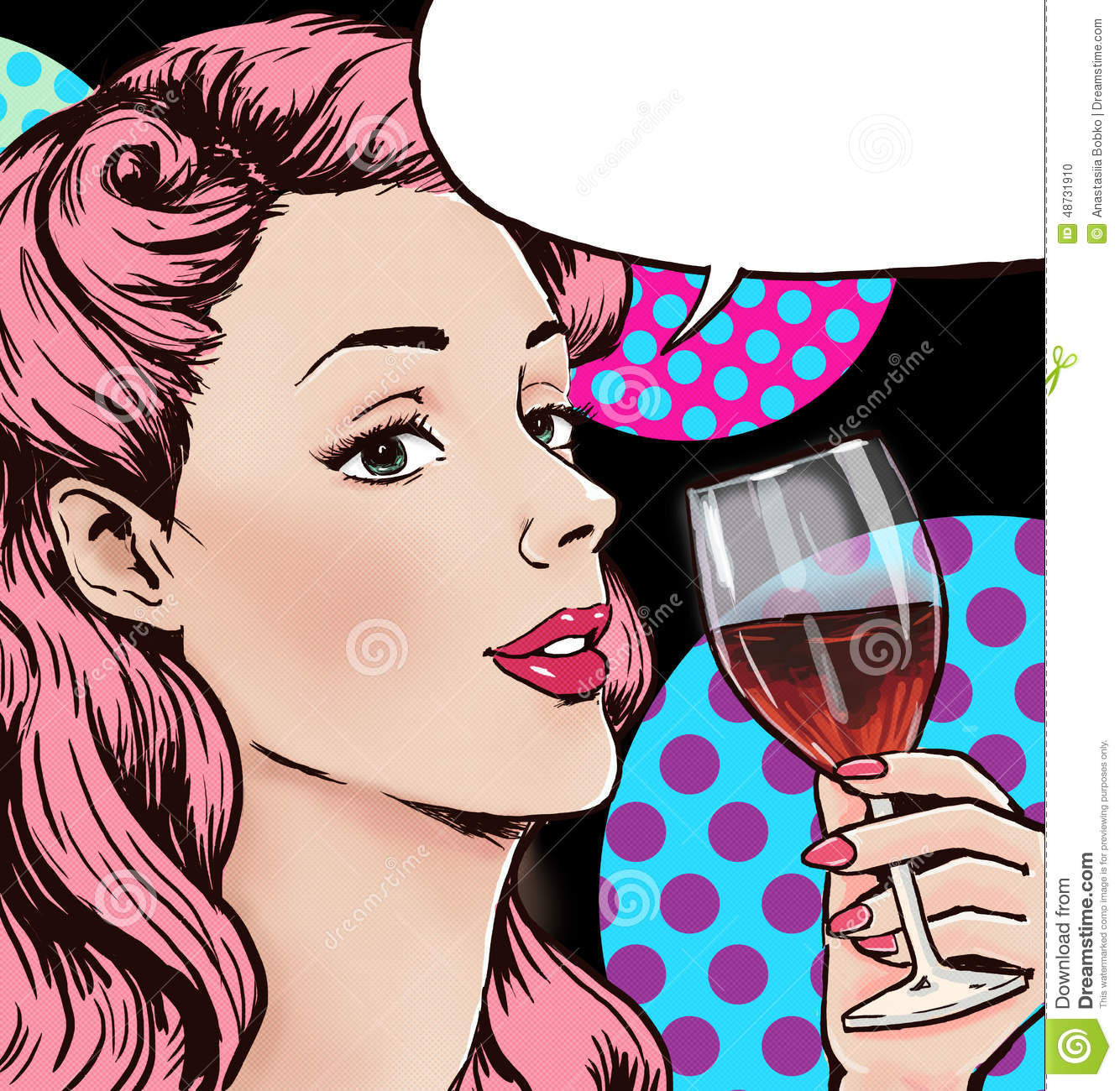 Pop Art illustration of woman with the glass of wine with speech bubble. Pop Art girl. Party invitation. Birthday greeting card.