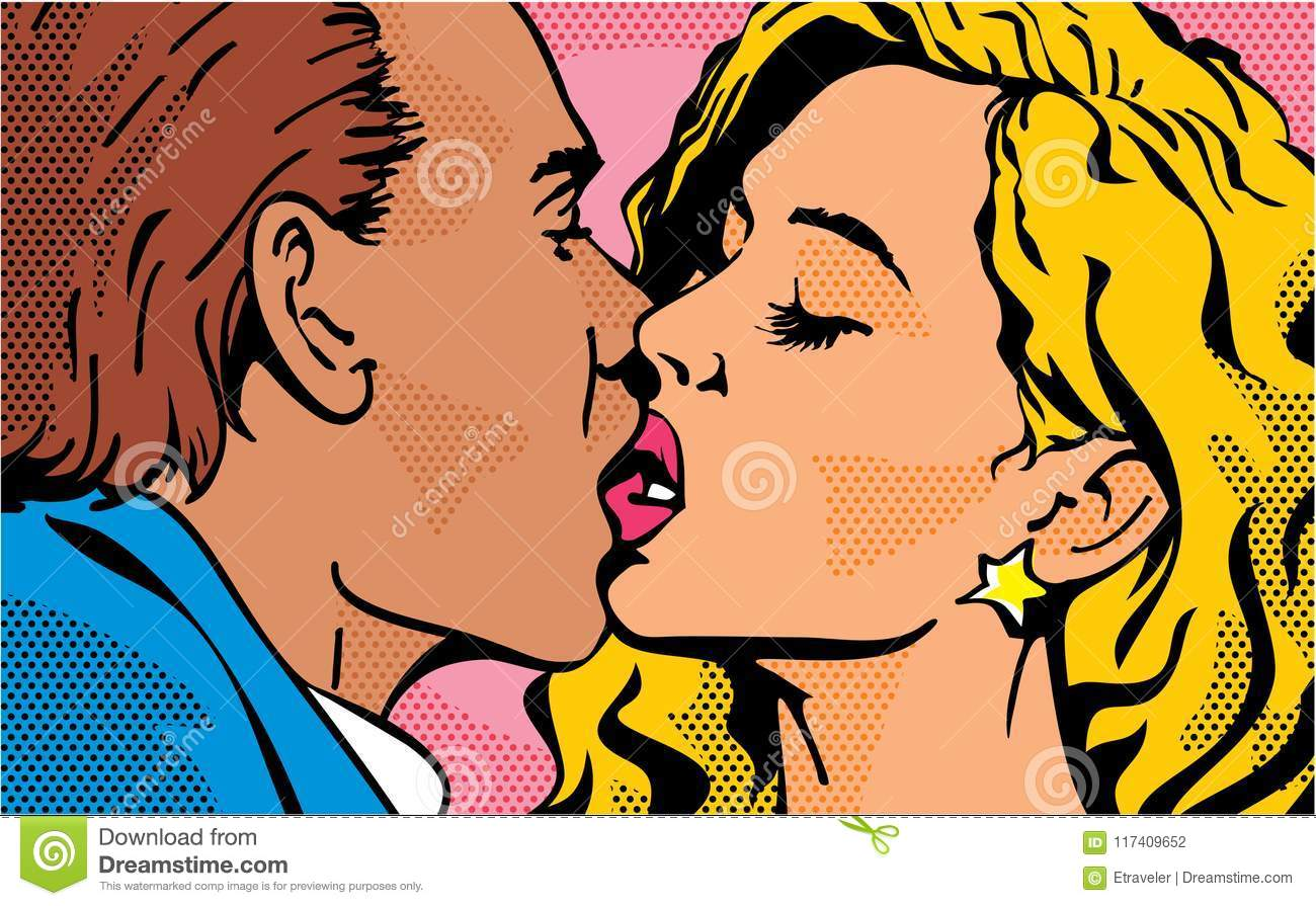 pop art kiss kissing couple man and woman valentines day love