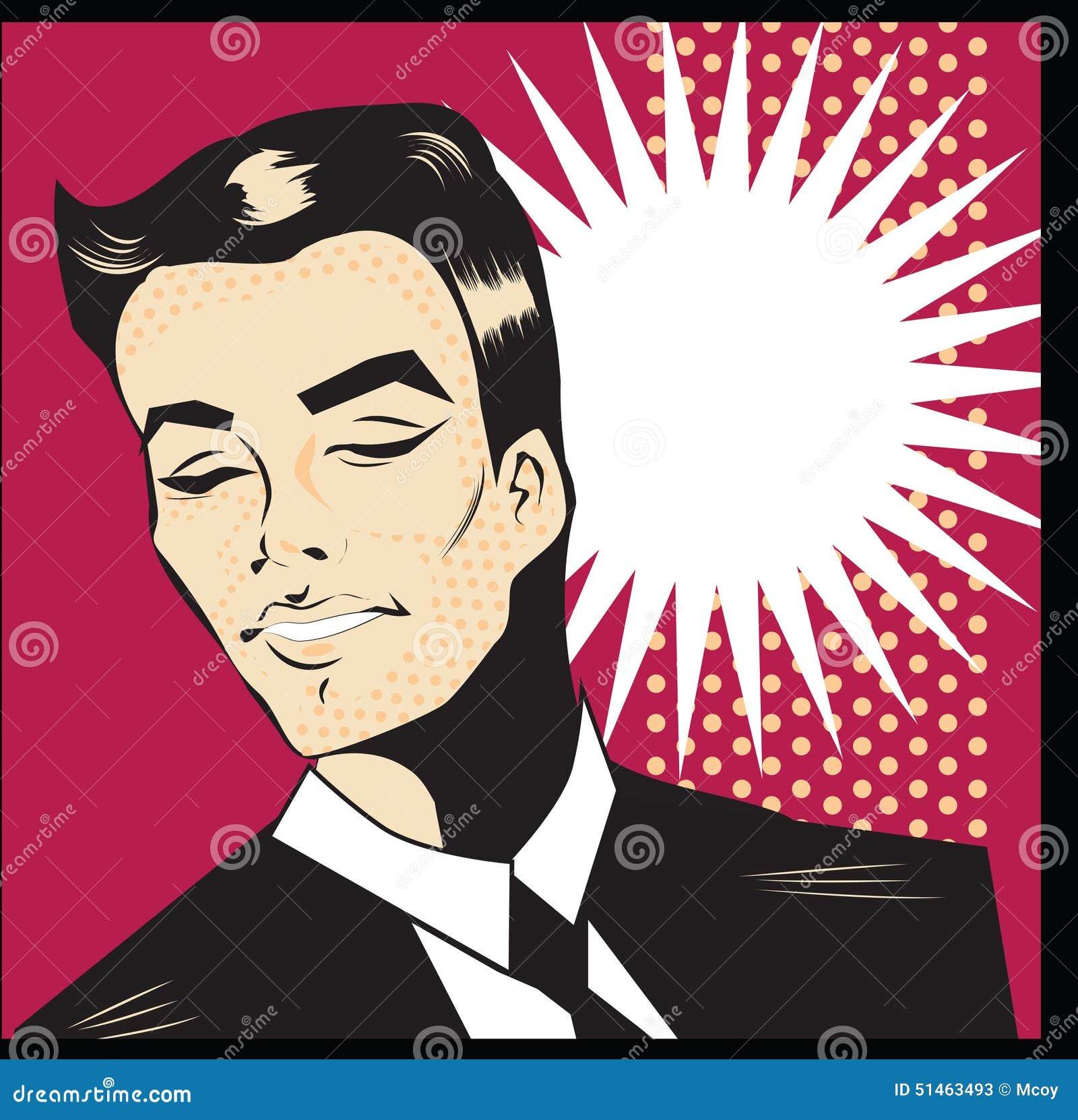 Pop Art Man Smile Illustration Vintage Poster Or Invitation Gentleman