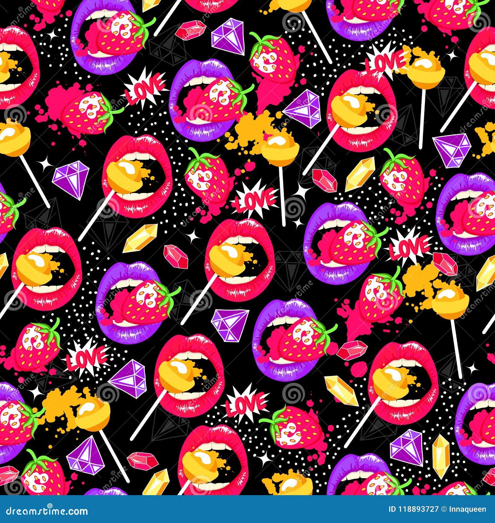 Pop-art naadloos patroon met lippen, aardbei, lollys, diamanten en liefde
