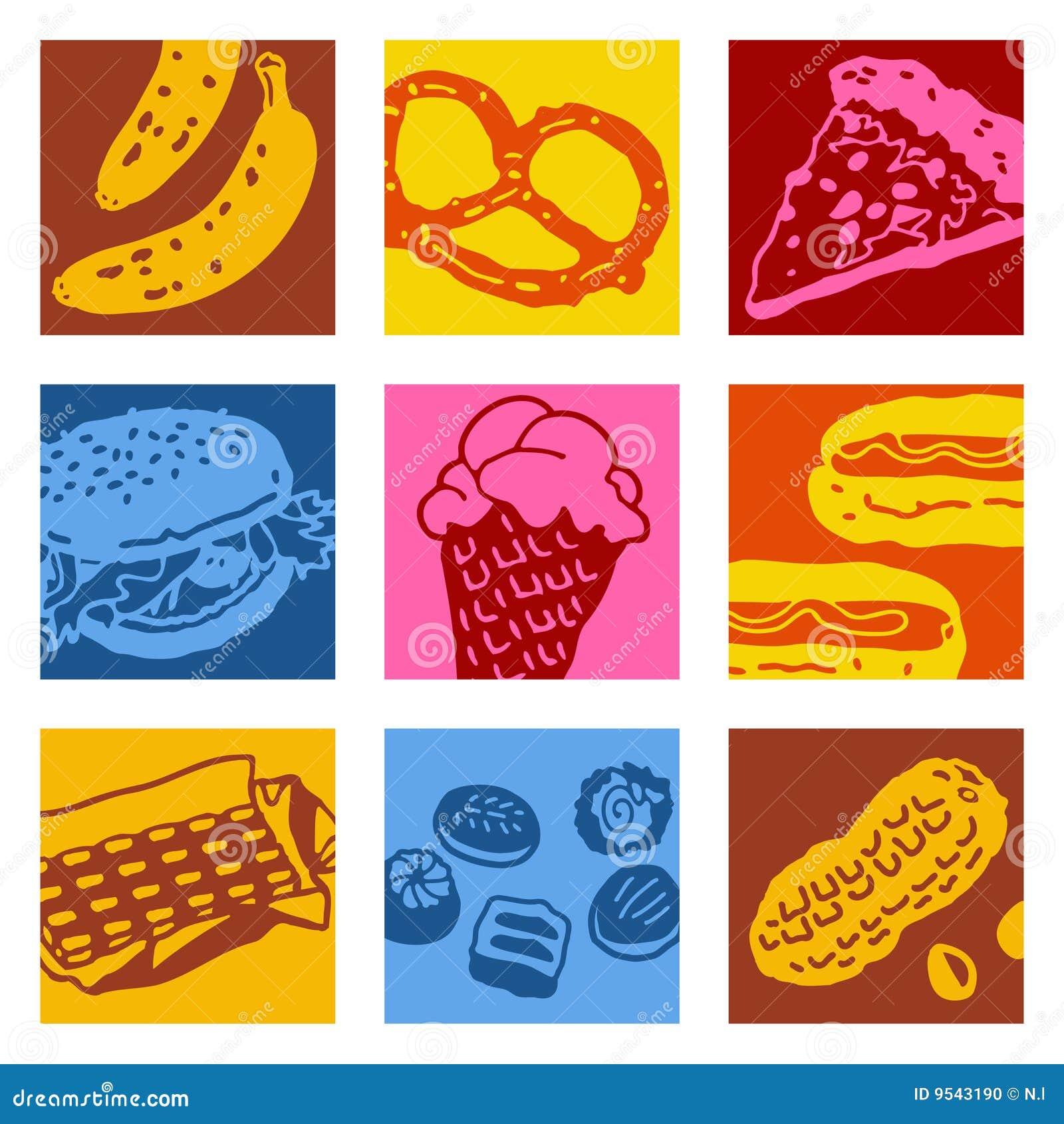 Pop art objects - food