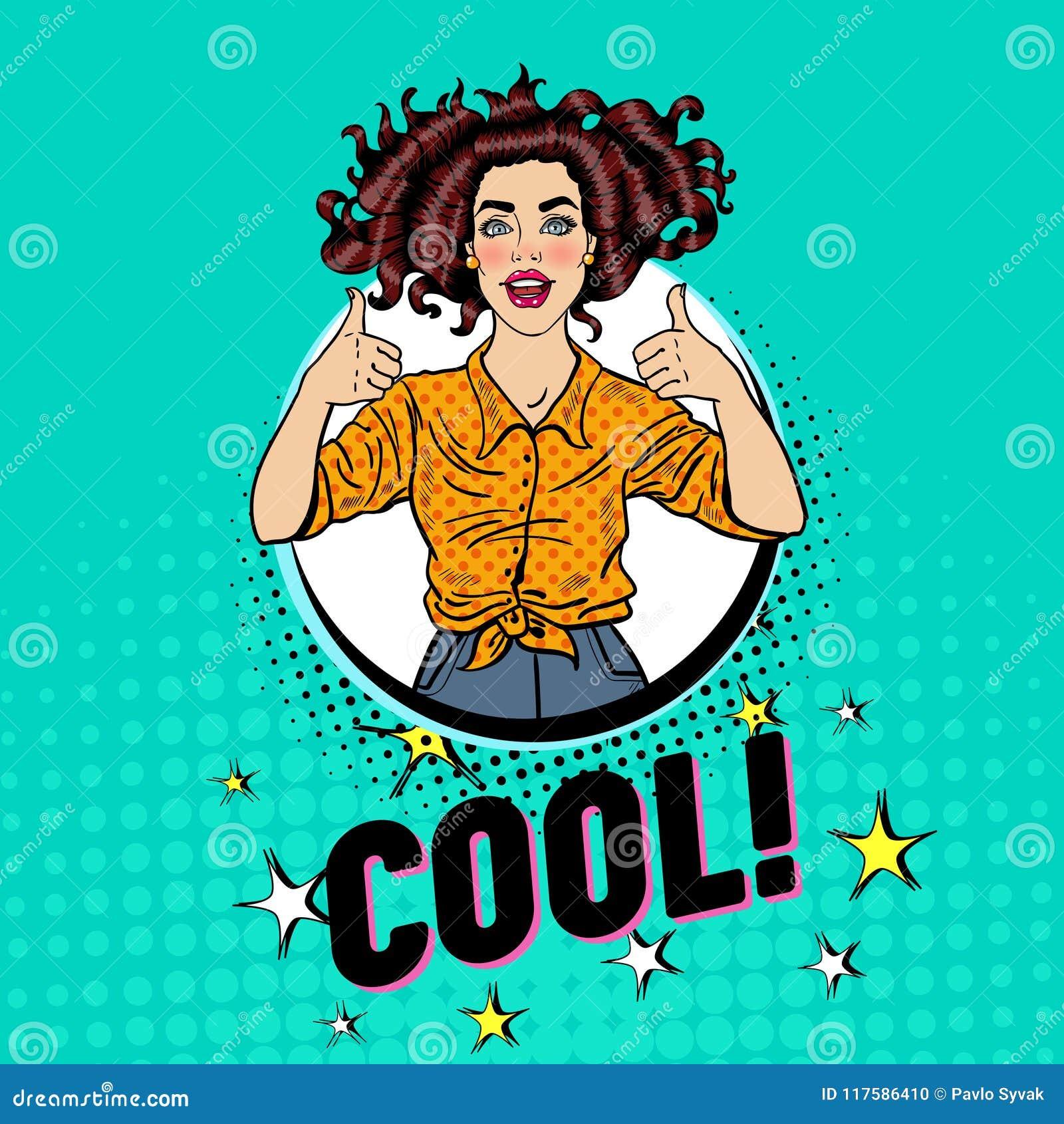 Pop Art Pretty Woman Posing met Duim ondertekent omhoog De blije Uitstekende Affiche van het Tienermeisje Pin Up Advertising Plac