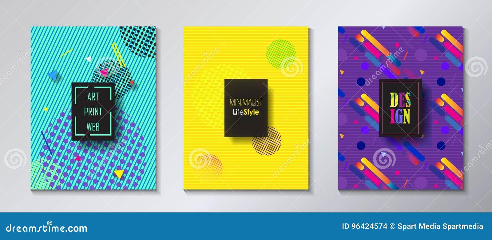 pop art print web minimalist brochure set stock vector