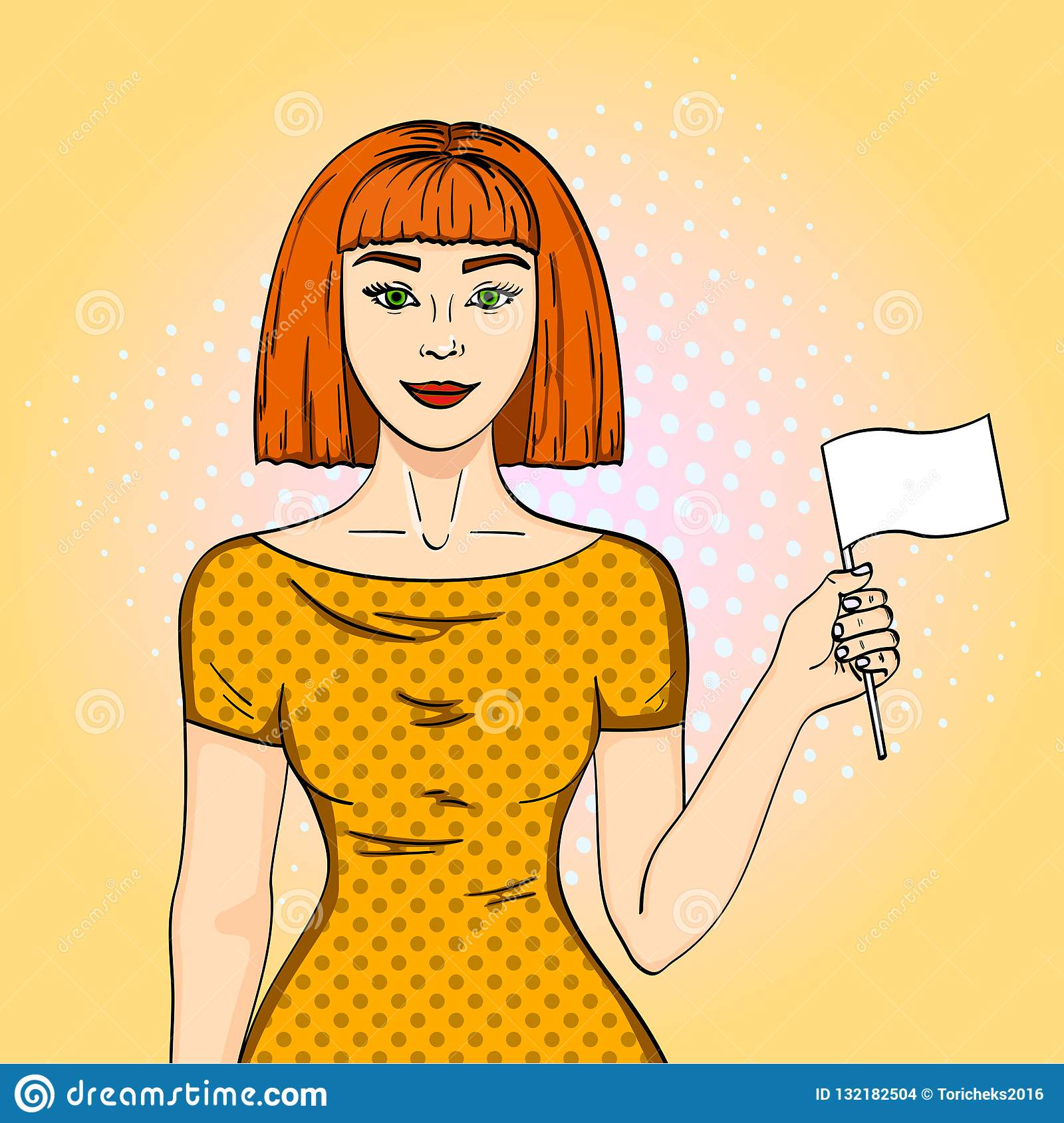 Pop art Red haired girl holding a white flag. The woman gave up her position Comic style imitation