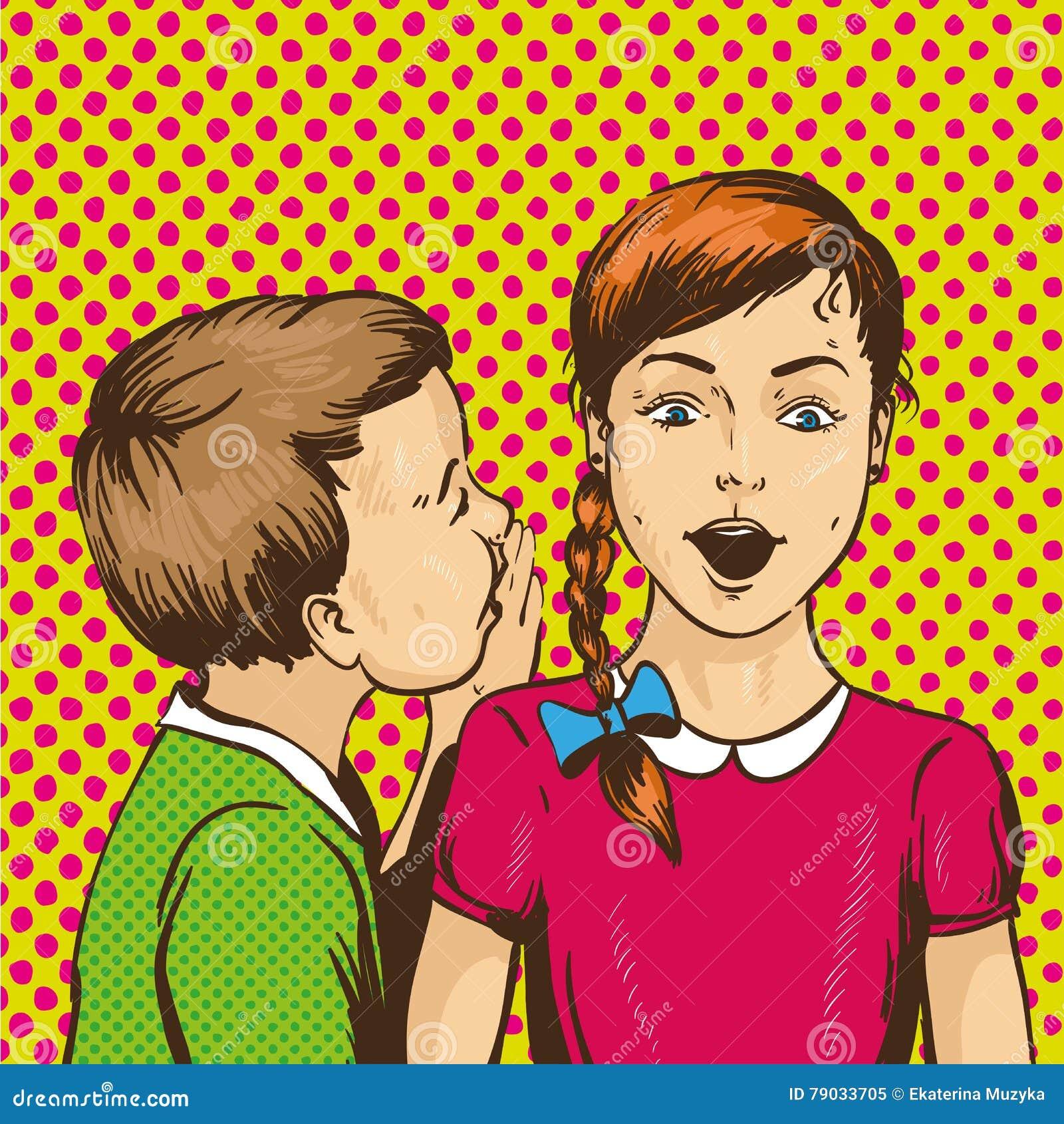 Pop-art retro grappige vectorillustratie Jong geitje het fluisteren roddel of geheim aan zijn vriend De kinderen spreken elkaar