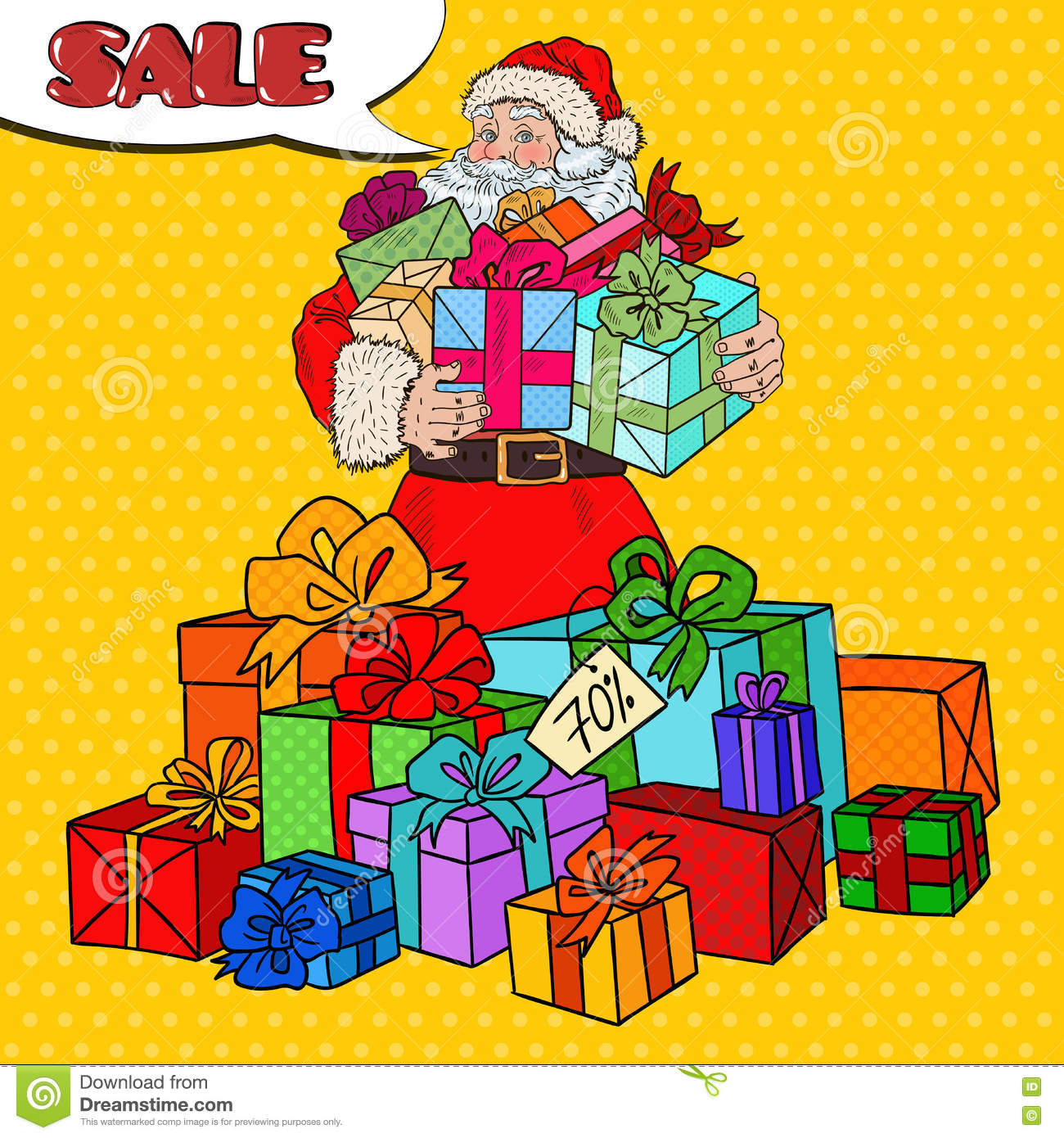 Pop Art Santa Claus With Christmas Gifts On Christmas Sale Stock ...