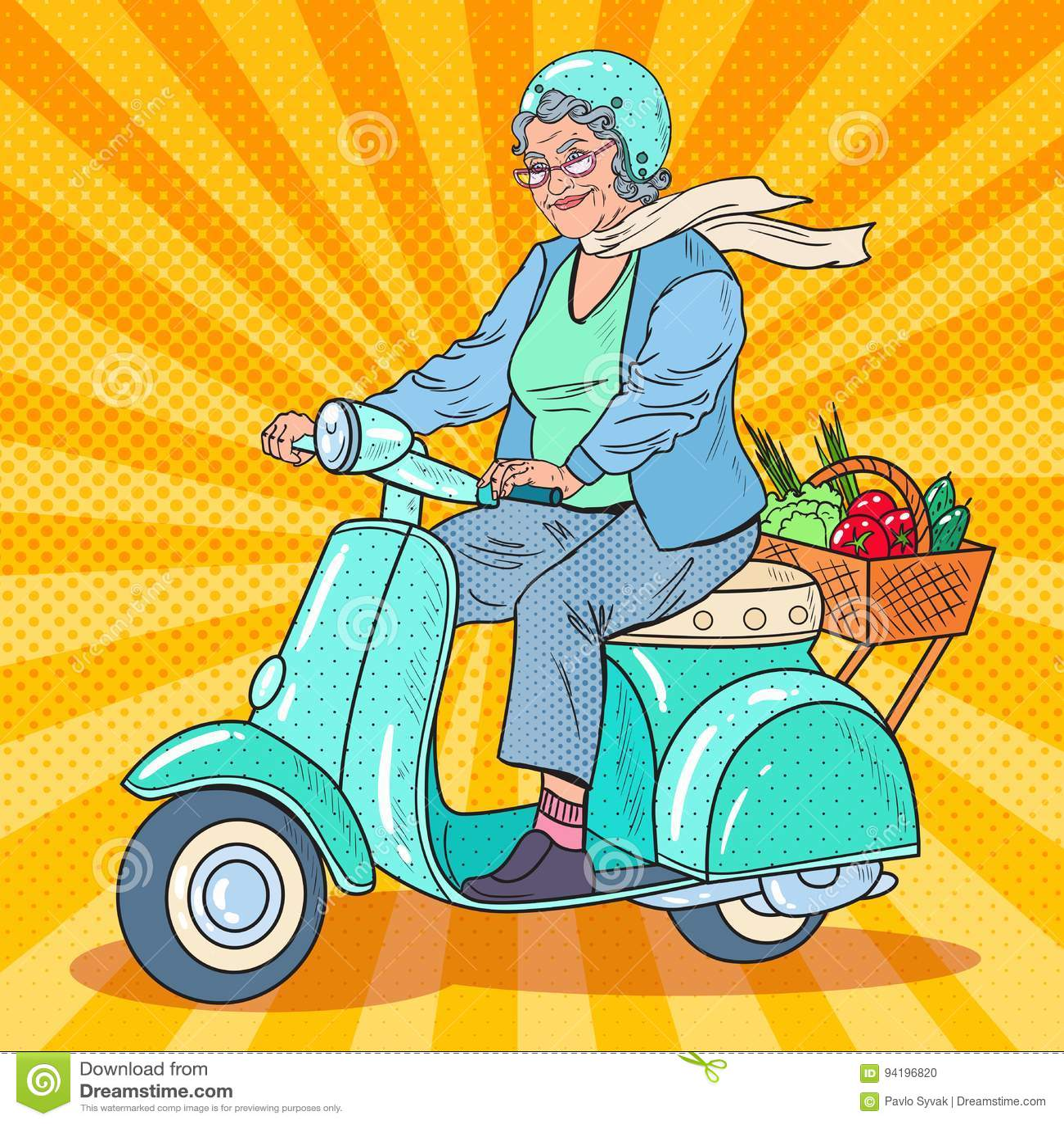 Pop Art Senior Woman Riding Scooter. Lady Biker