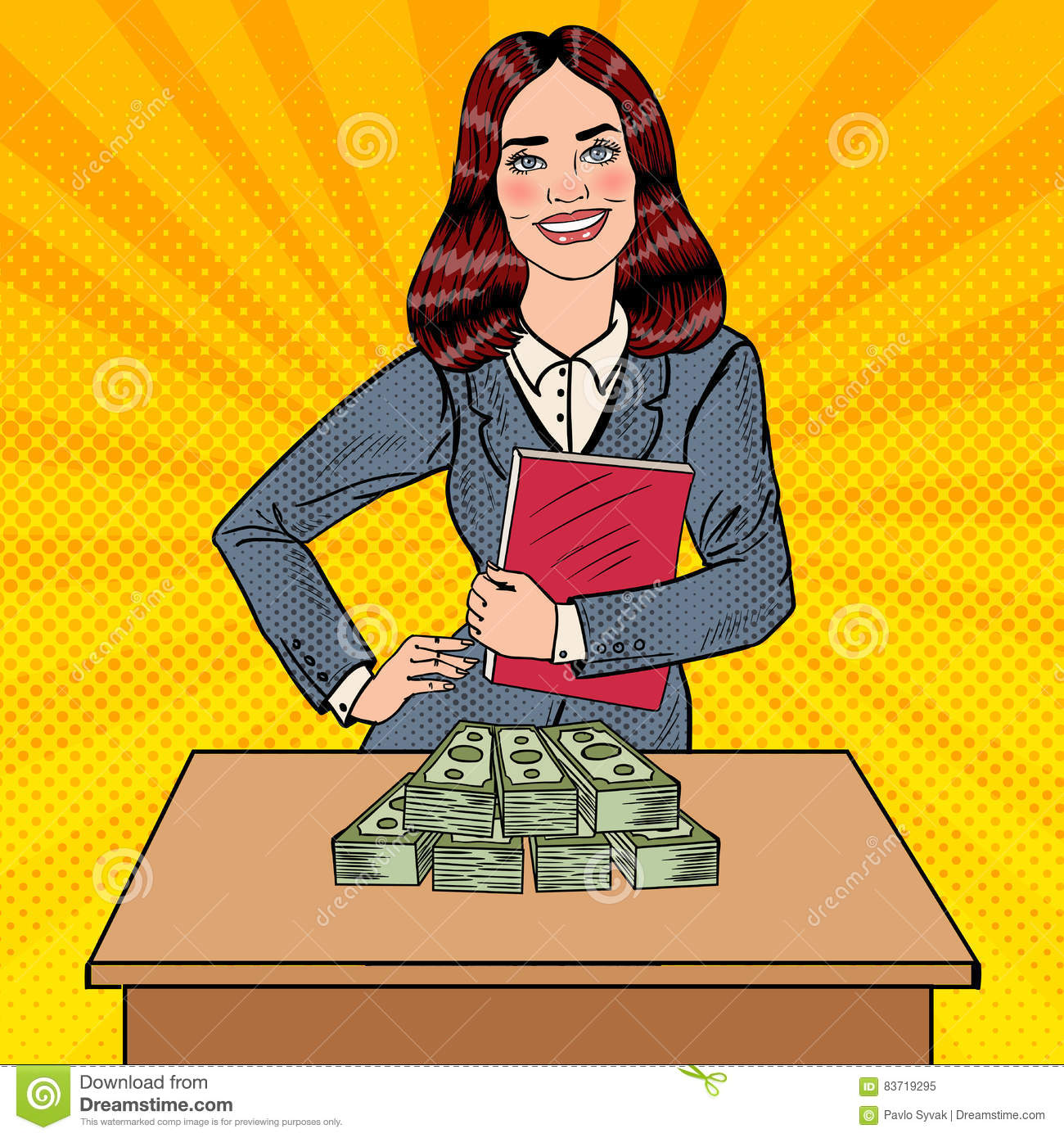 Pop Art Smiling Business Woman Standing Behind The Table With Money Stock Vector