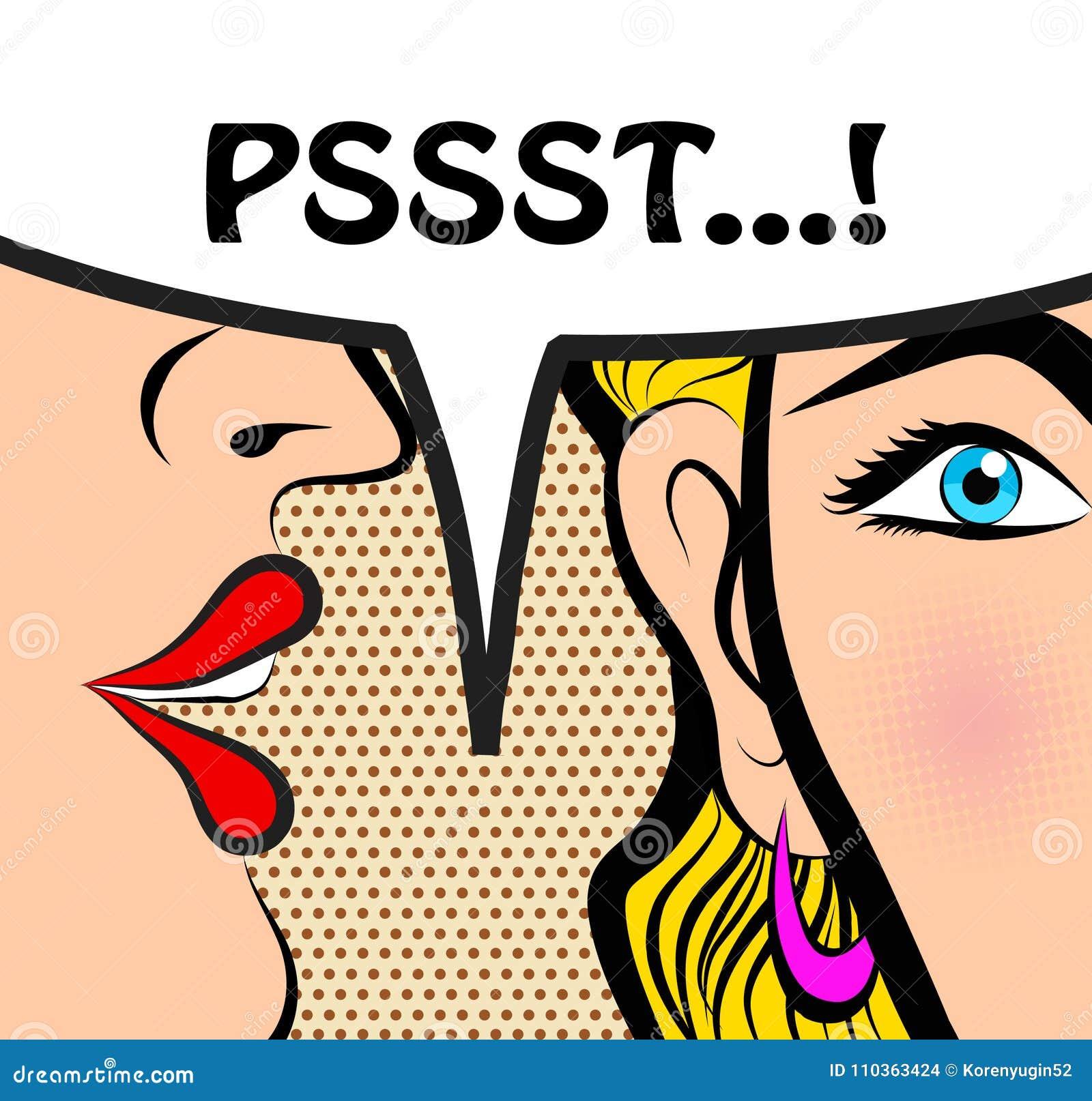 Pop Art Style Comic Book Panel Gossip Girl Whispering In Ear Sec ...