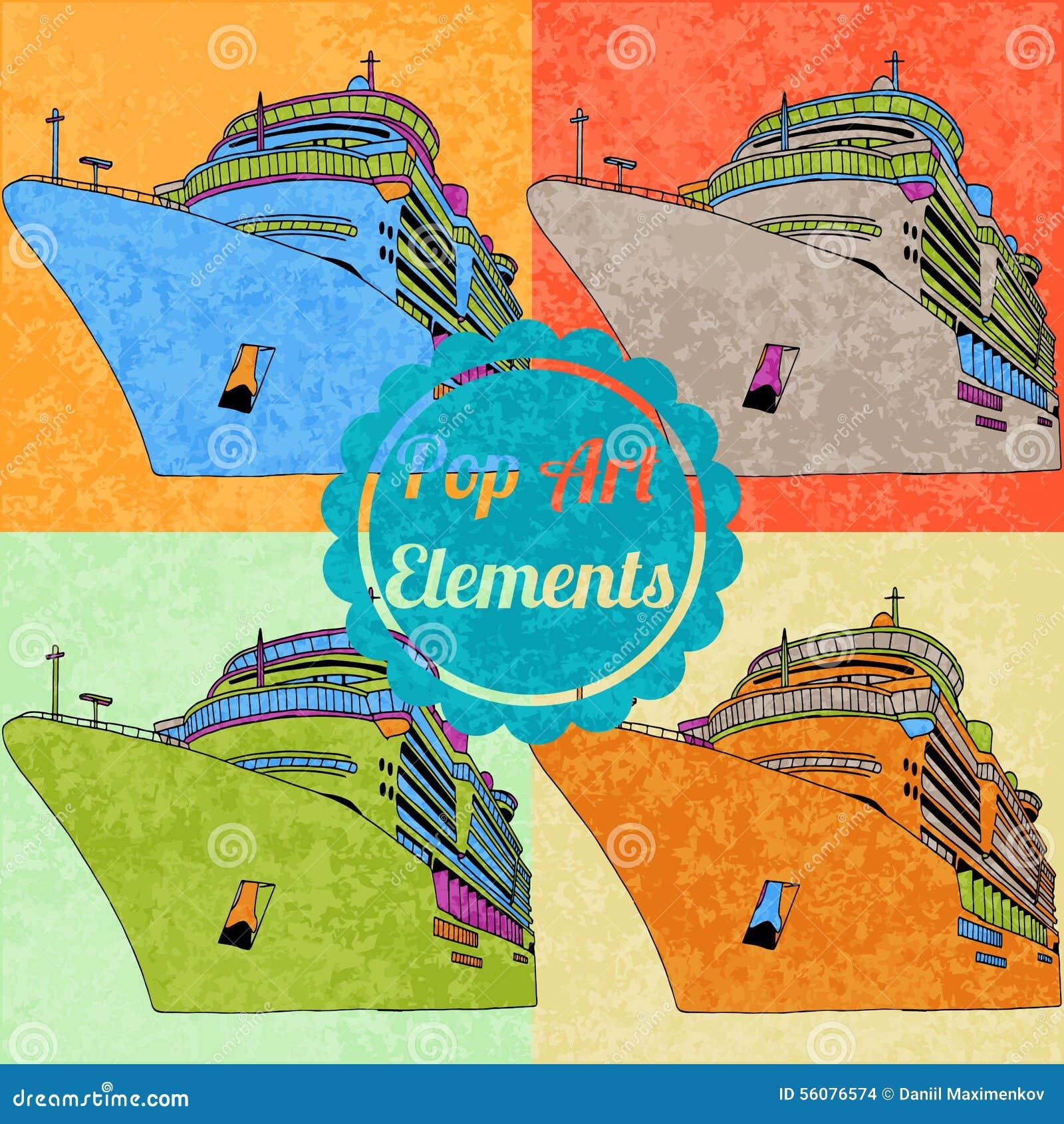 Pop Art Style Elements Set Of Vector Cruise Stock Vector