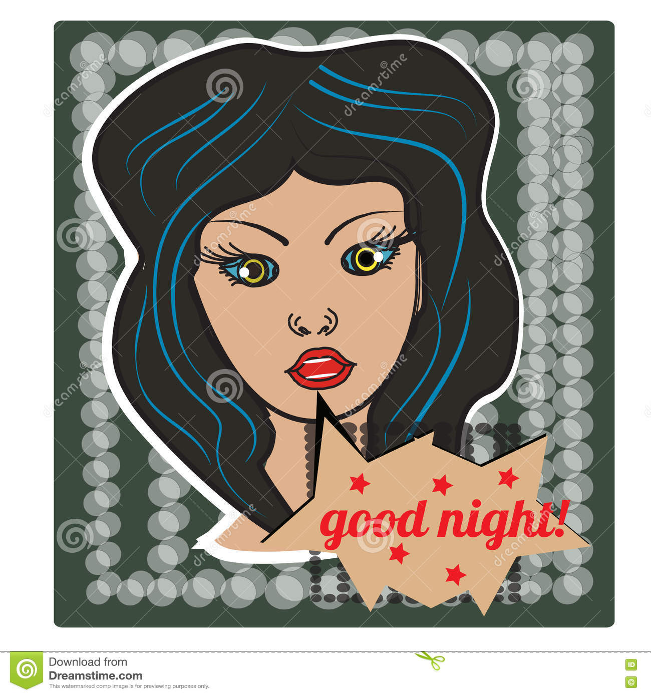 Pop art style girl on halftone background with happy good night bubble. Sticker figure, poster. Vector