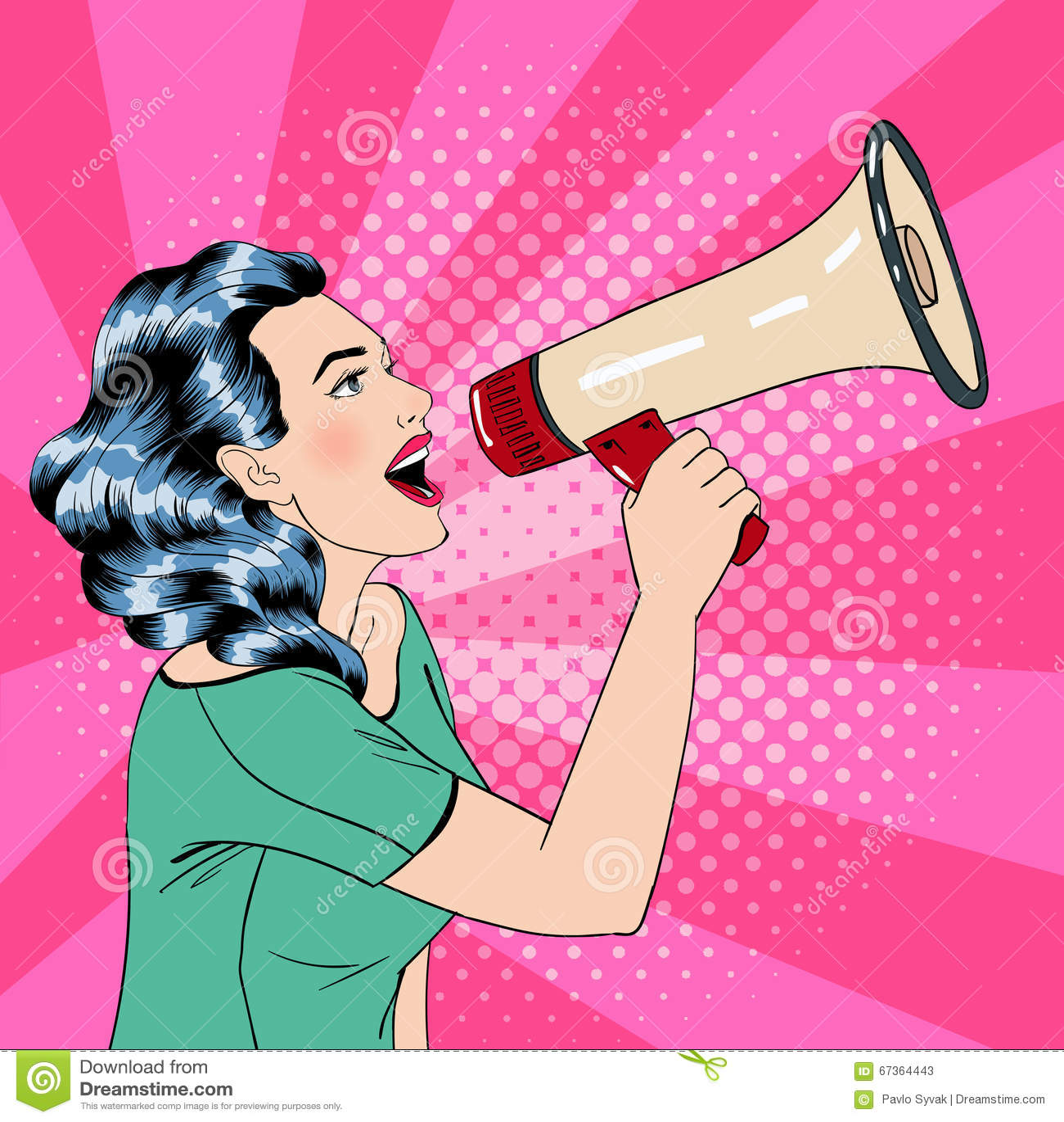 pop art style woman with megaphone illustration 67364443 megapixl