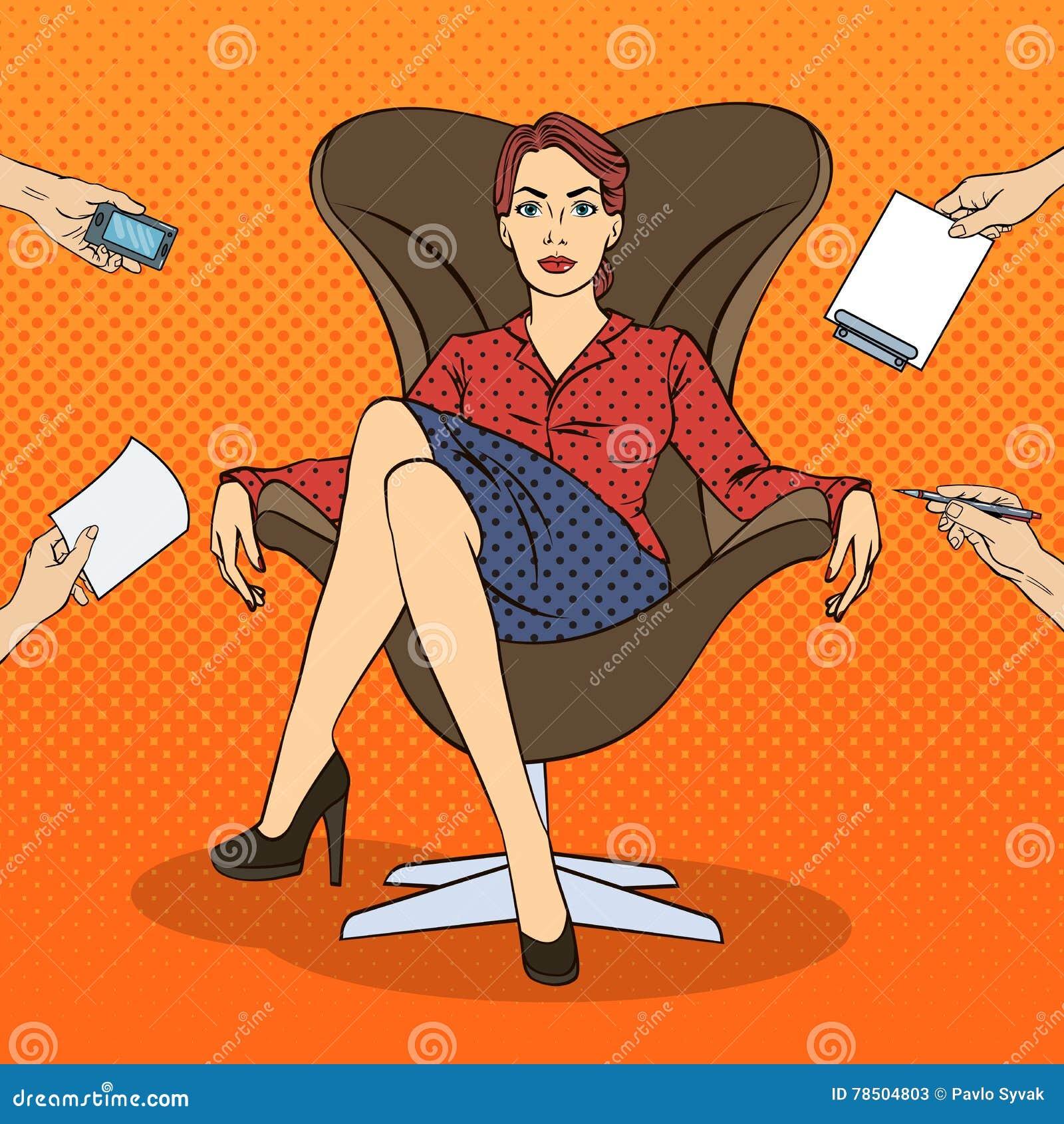 Pop Art Successful Business Woman Sitting als Luxevoorzitter op het Multi het Belasten Bureauwerk