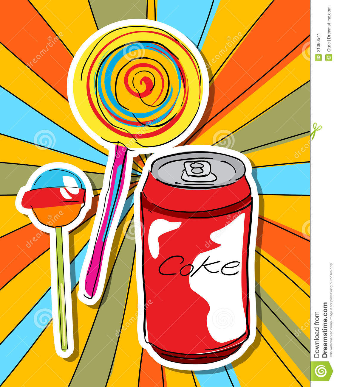 Pop art graphic background with lollipop, soda and candy.