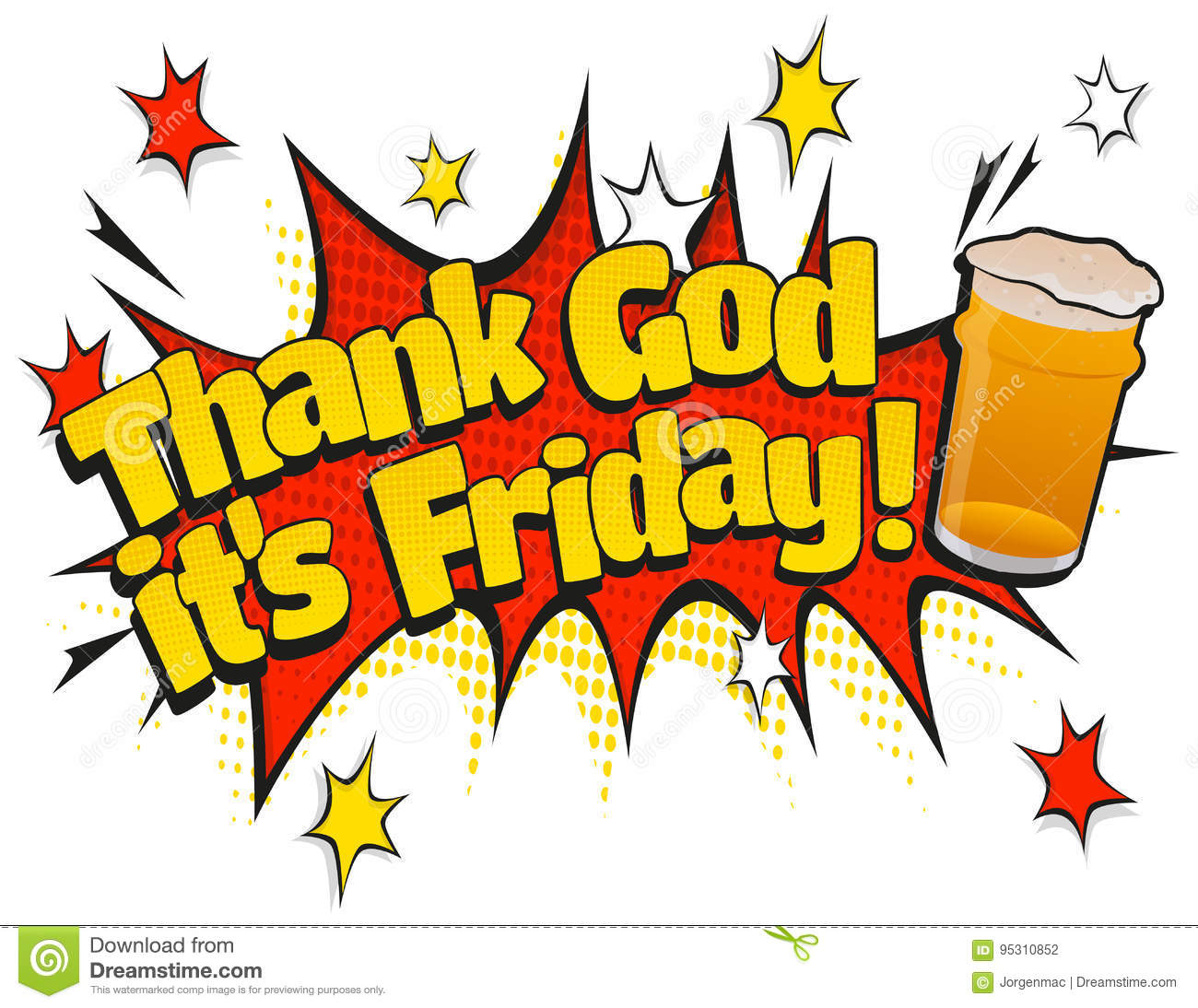 Pop Art Thank God Its Friday Pint Day Sign Stock Vector