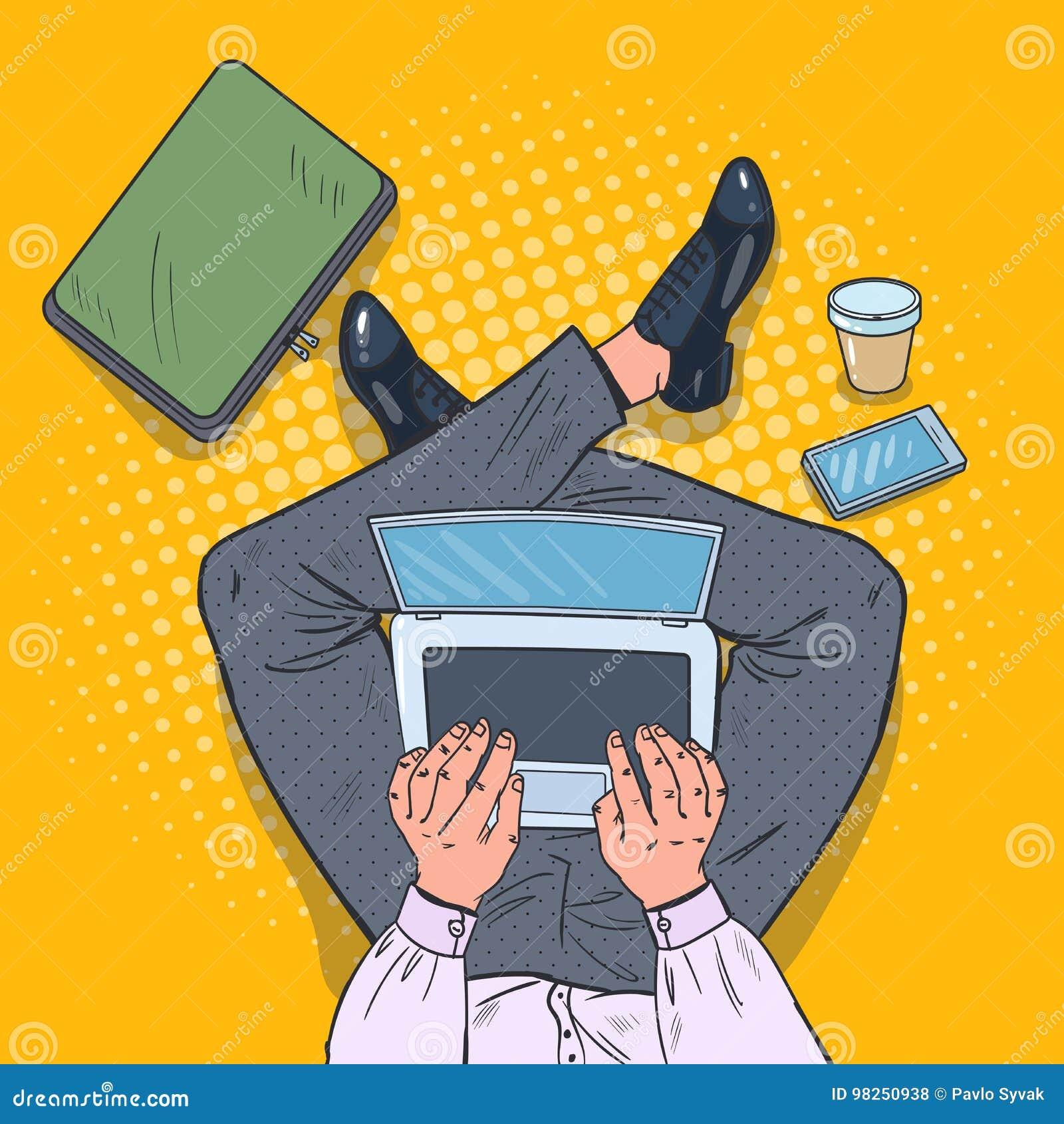 Pop Art Top View Man Sitting med bärbara datorn på golvet