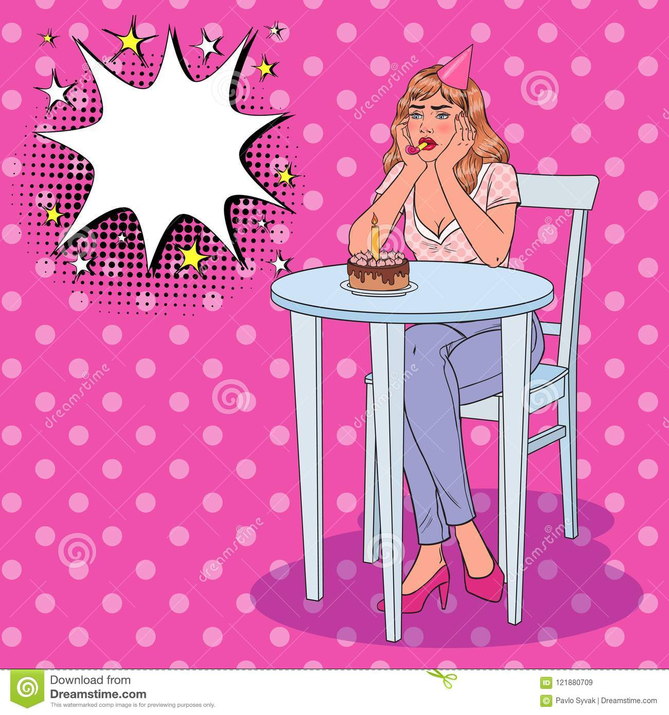 Pop art unhappy beautiful woman celebrating birthday alone sad girl with birthday cake