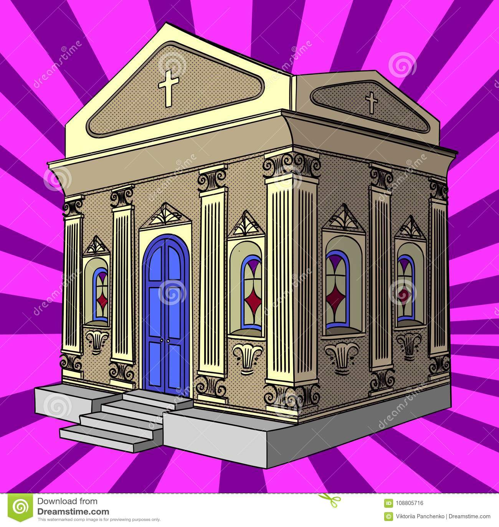 Pop Art Vector  Crypt, Cemetery, Church, Building  Stock
