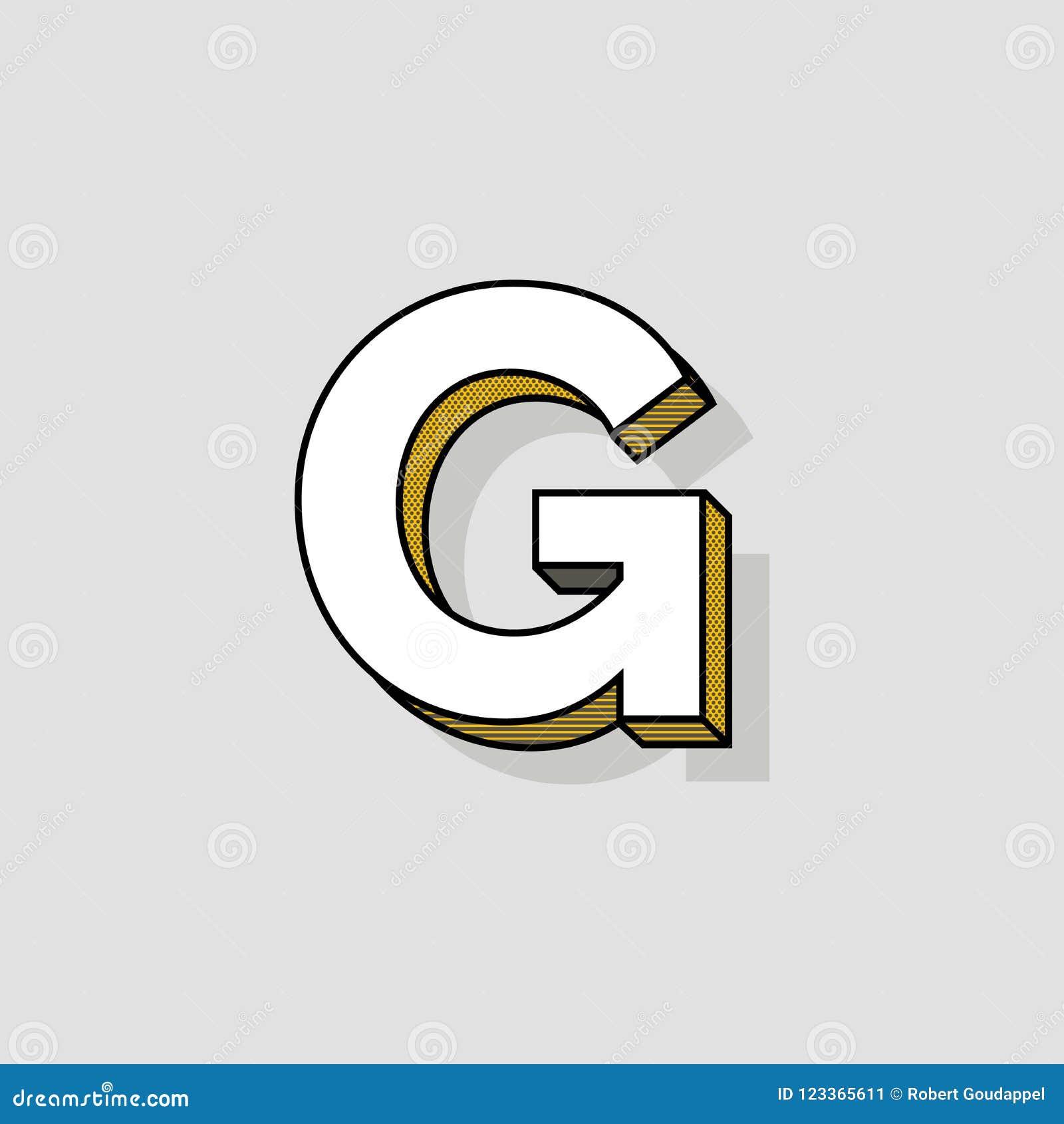 Pop Art Vector Logo Letter G Stock Vector   Illustration of