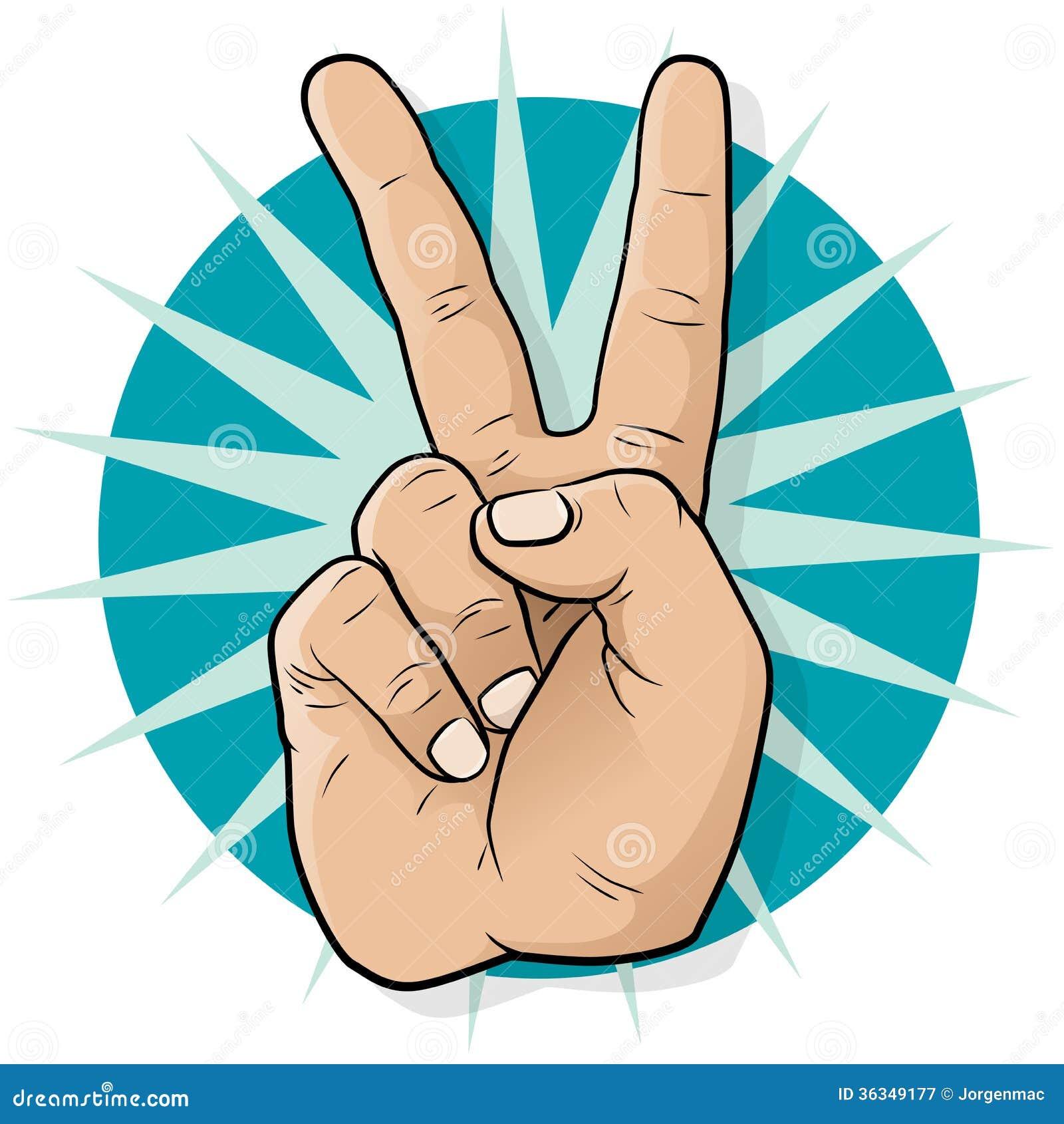 Pop Art Victory Hand Sign.