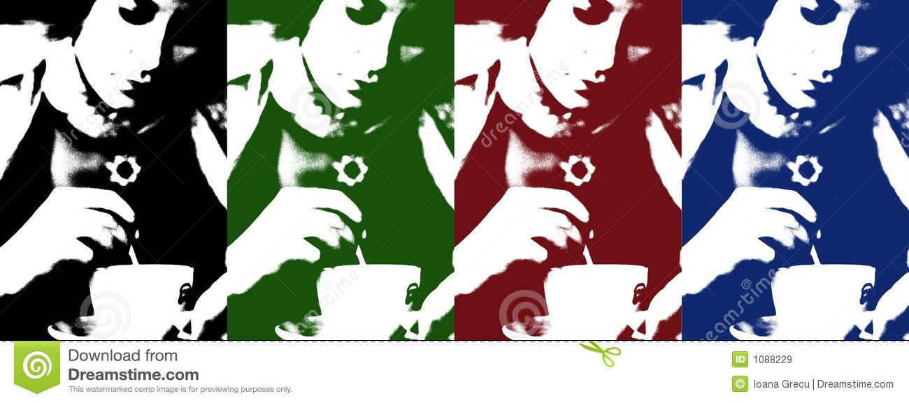 Pop art of woman with coffee cup