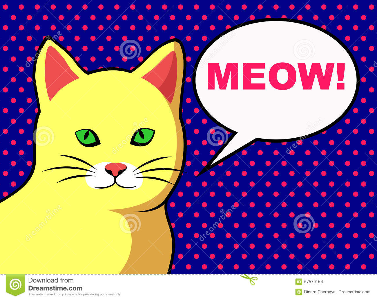 pop art yellow cat with text bubble stock vector illustration of