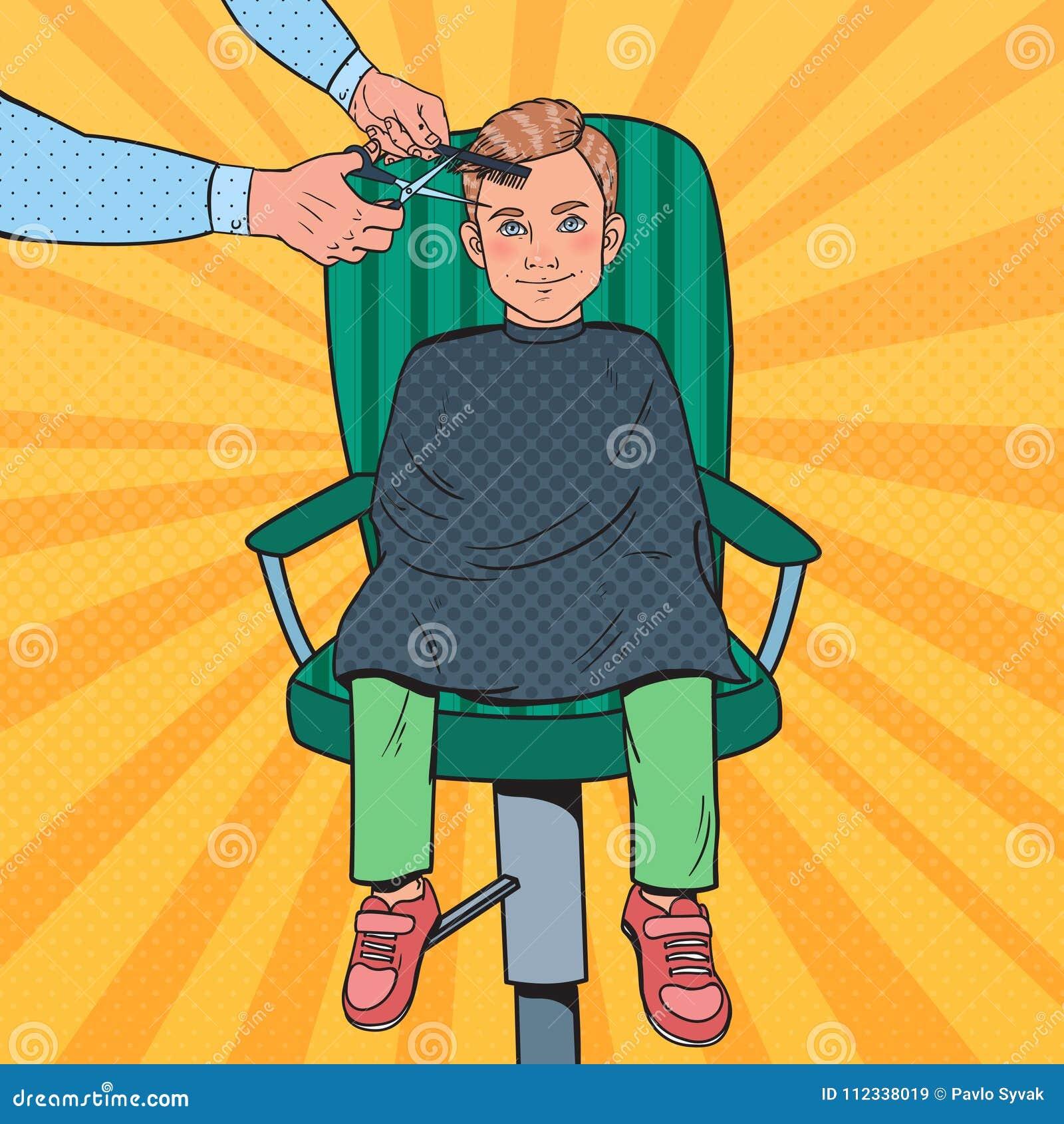 Pop Art Young Boy Getting en frisyr Ungen i barberare shoppar Frisör Cutting Child Hair