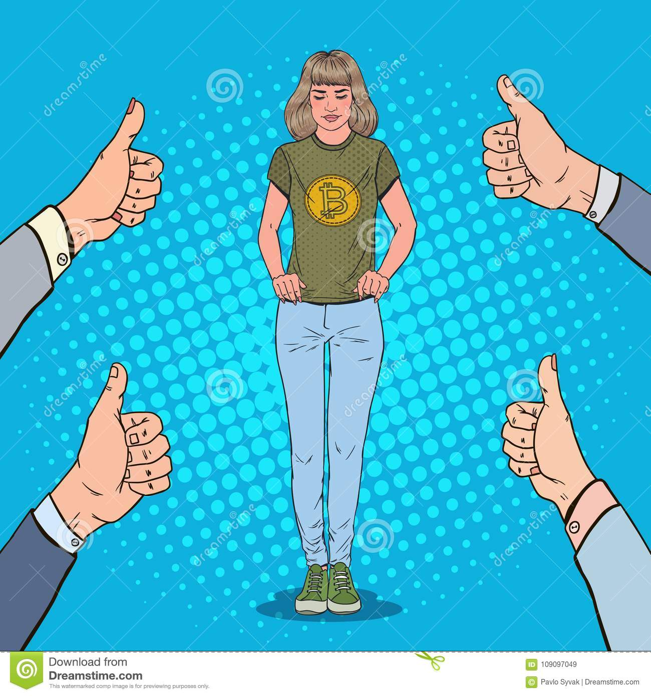 Pop Art Young Woman Wearing In T-shirt With Bitcoin Print With Hands