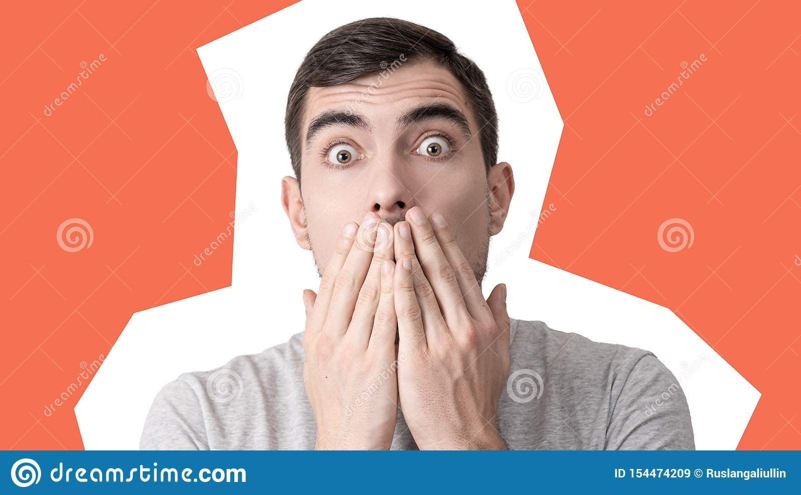 Pop-Arten-Collage, Porträt eines überraschten Mannes mit ausbauchenden Augen und geschlossene Mundhände